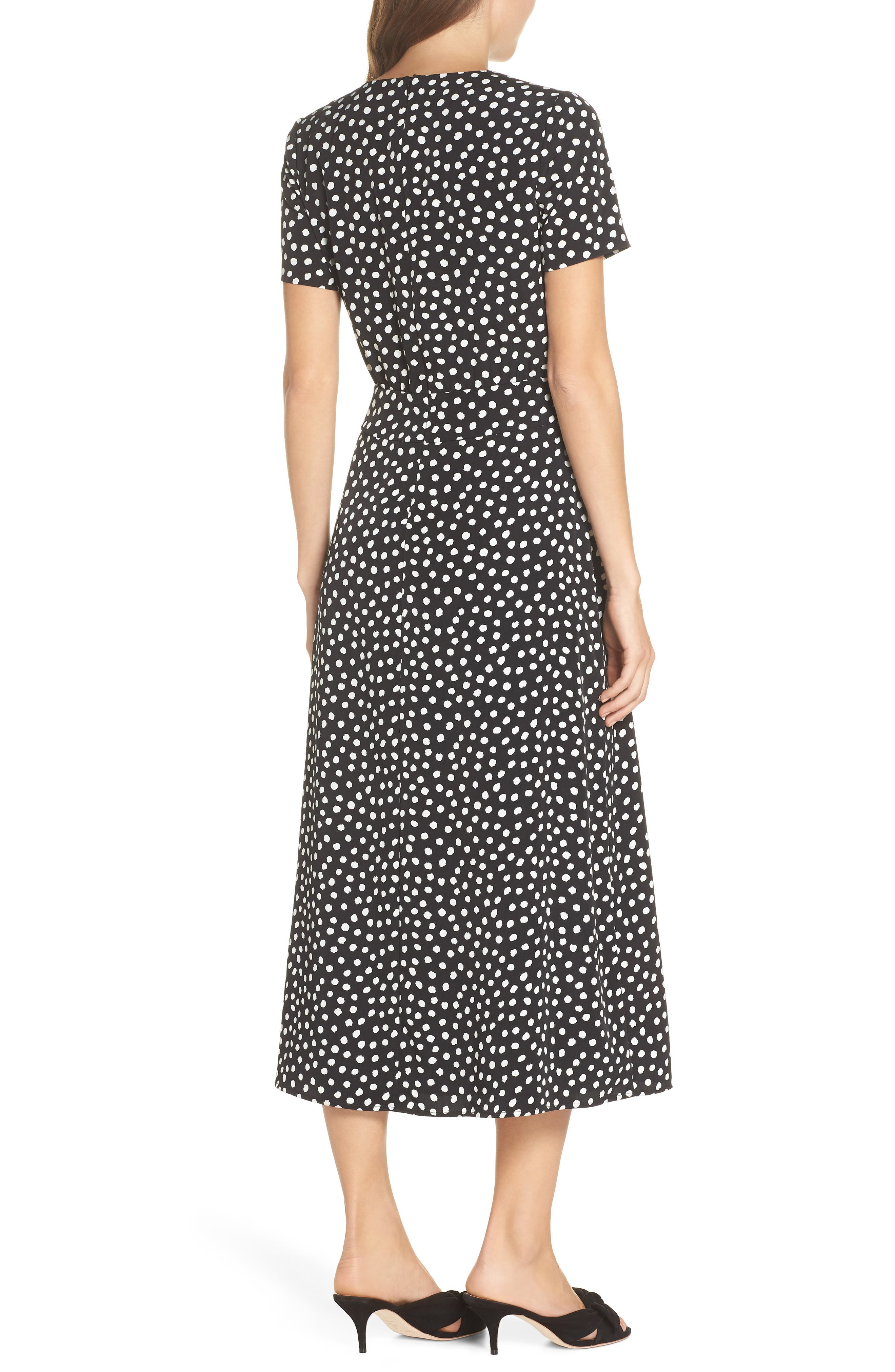 Print Midi Dress,                             Alternate thumbnail 2, color,                             Black/ Soft White