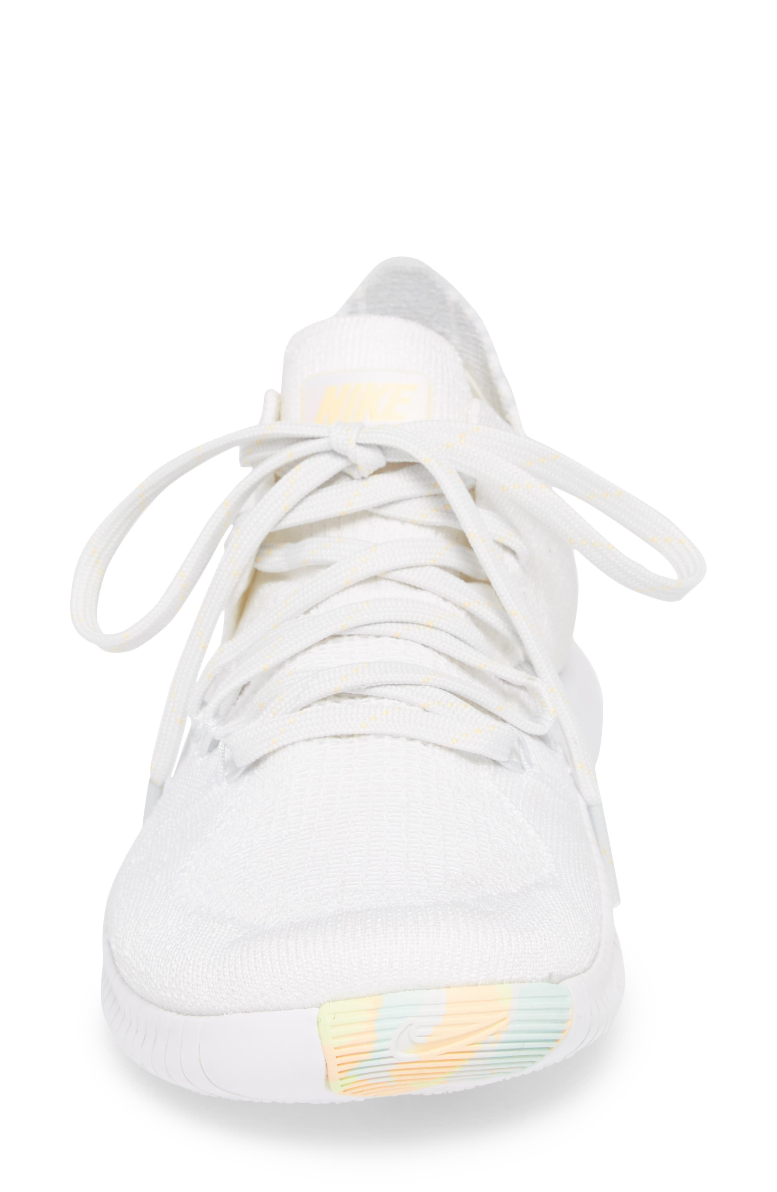 Free TR Flyknit 3 Rise Training Shoe,                             Alternate thumbnail 4, color,                             White/ Summit White