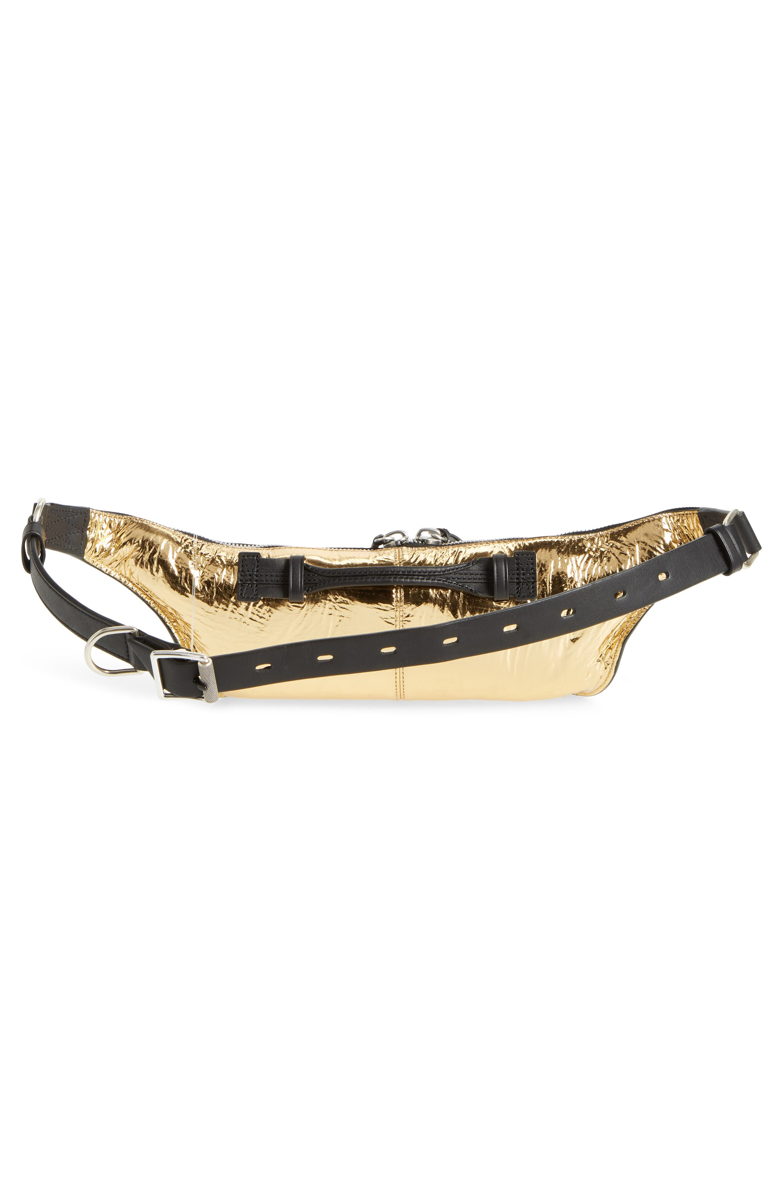 Small Elliot Leather Fanny Pack,                             Alternate thumbnail 4, color,                             Gold