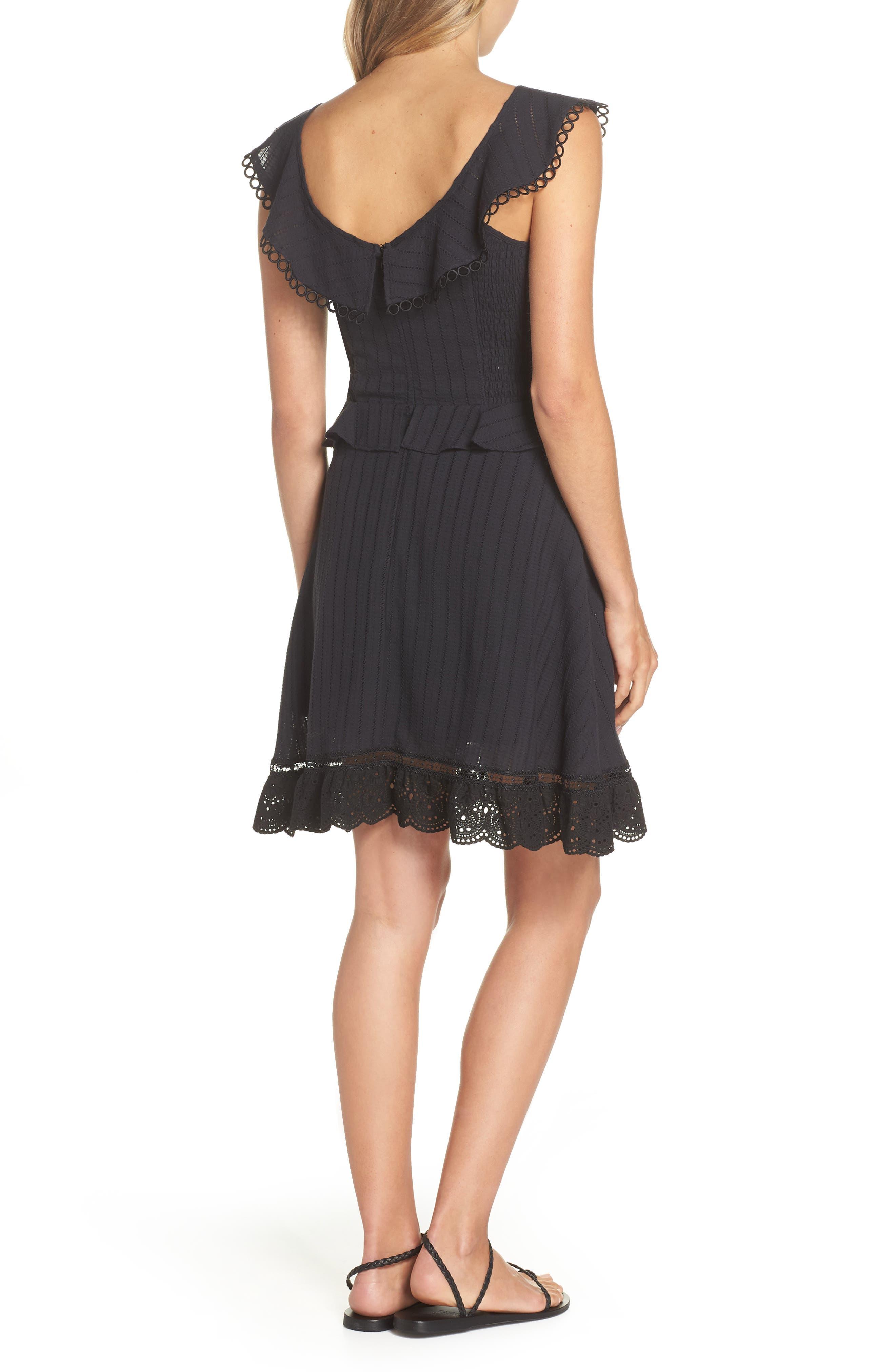 Kasey Peplum Fit & Flare Dress,                             Alternate thumbnail 2, color,                             Black