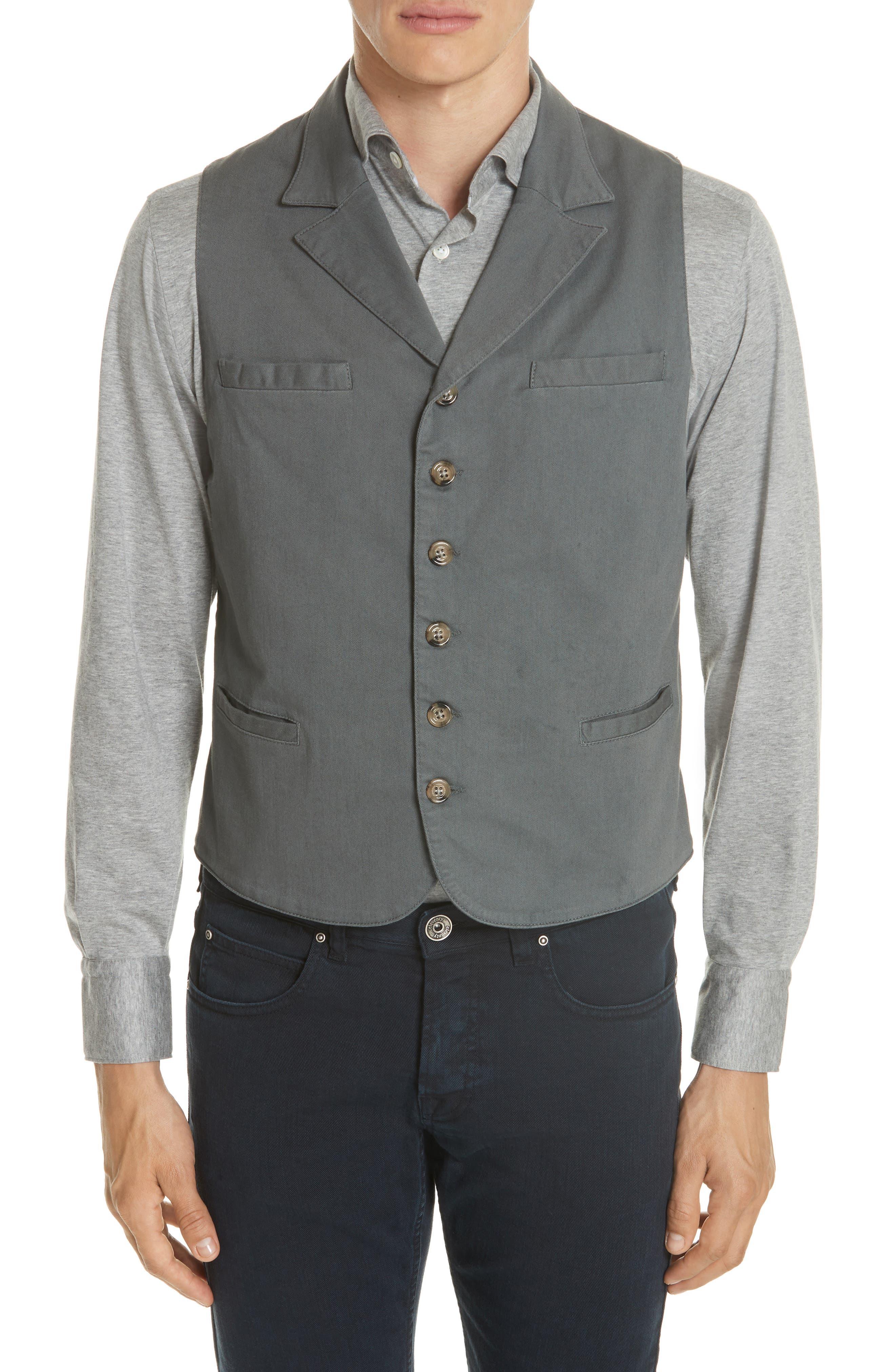 Slim Fit Stretch Cotton Twill Vest,                         Main,                         color, Dark Grey