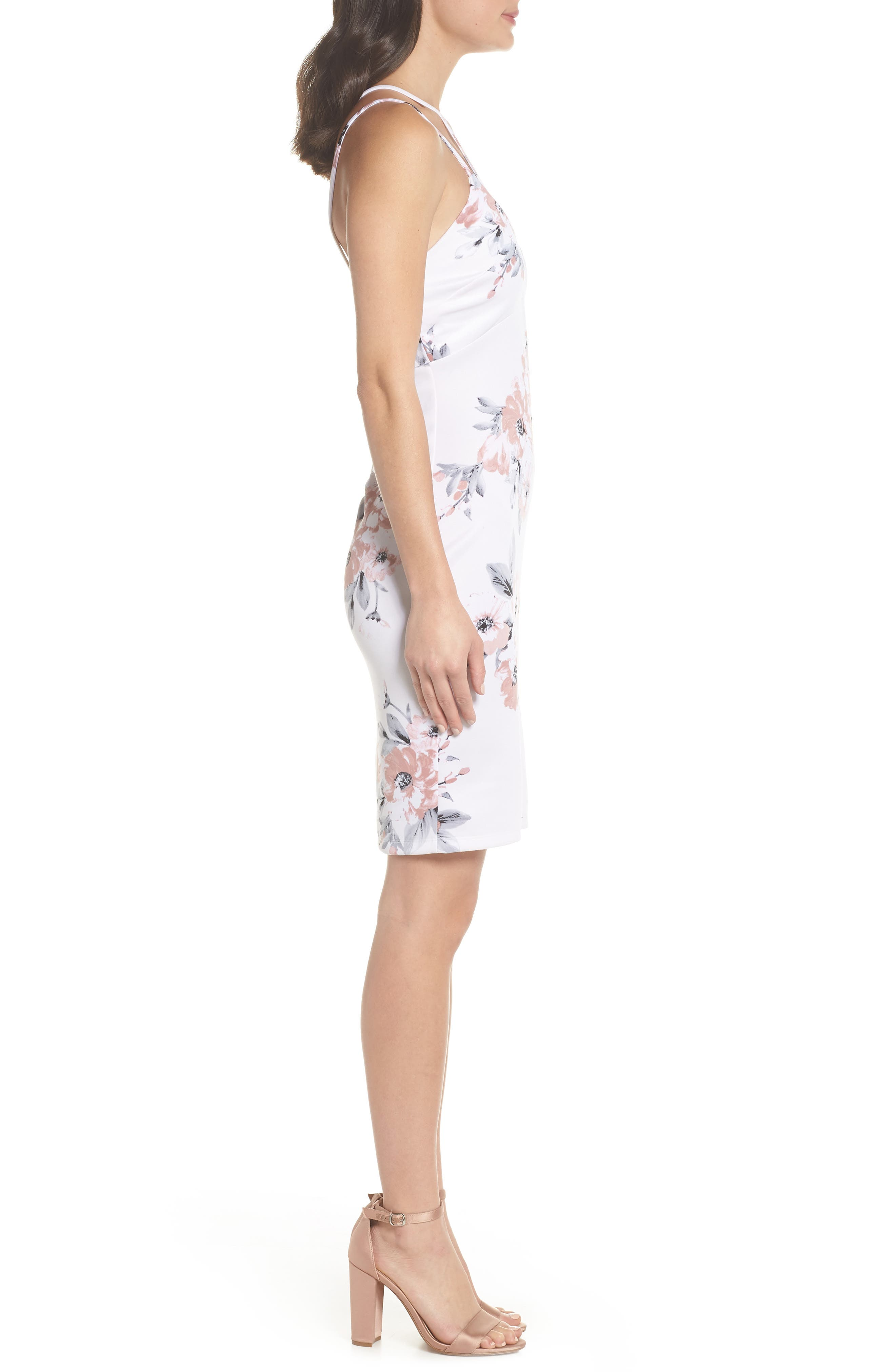 Floral Print Double Strap Scuba Dress,                             Alternate thumbnail 3, color,                             Ivory/ Mauve