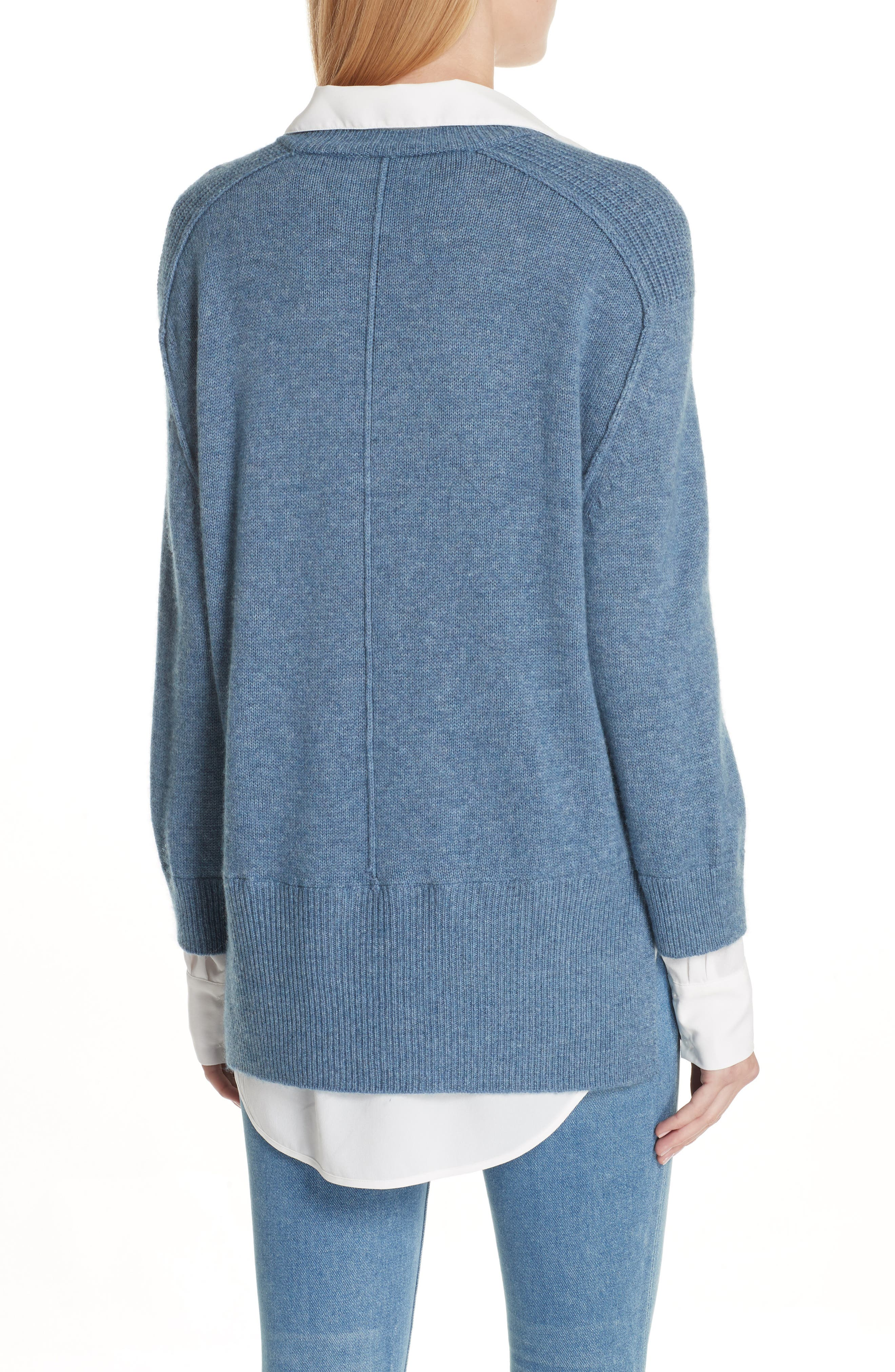 V-Neck Layered Pullover,                             Alternate thumbnail 2, color,                             Jean