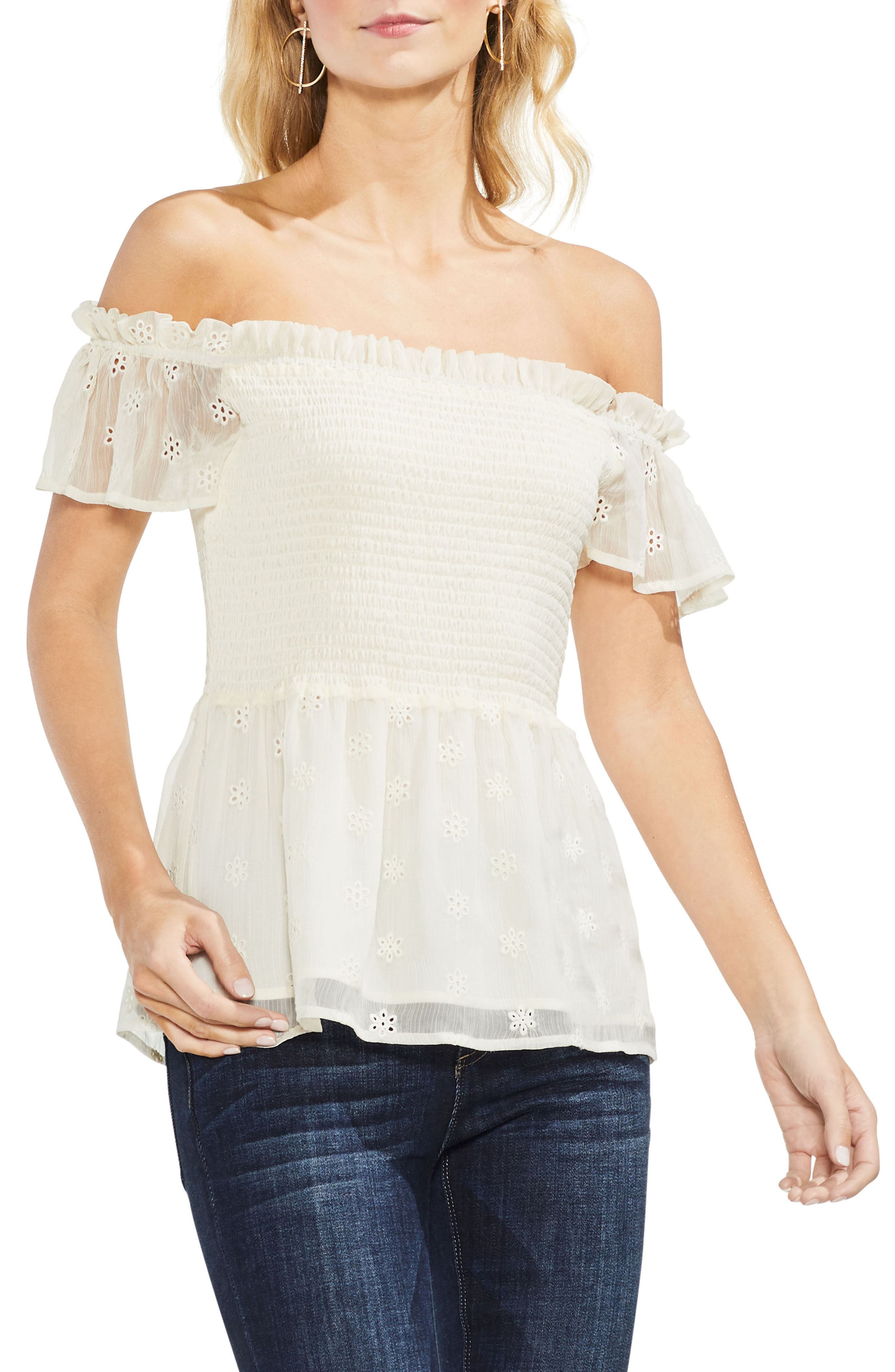 Smocked Eyelet Top,                         Main,                         color, Antique White