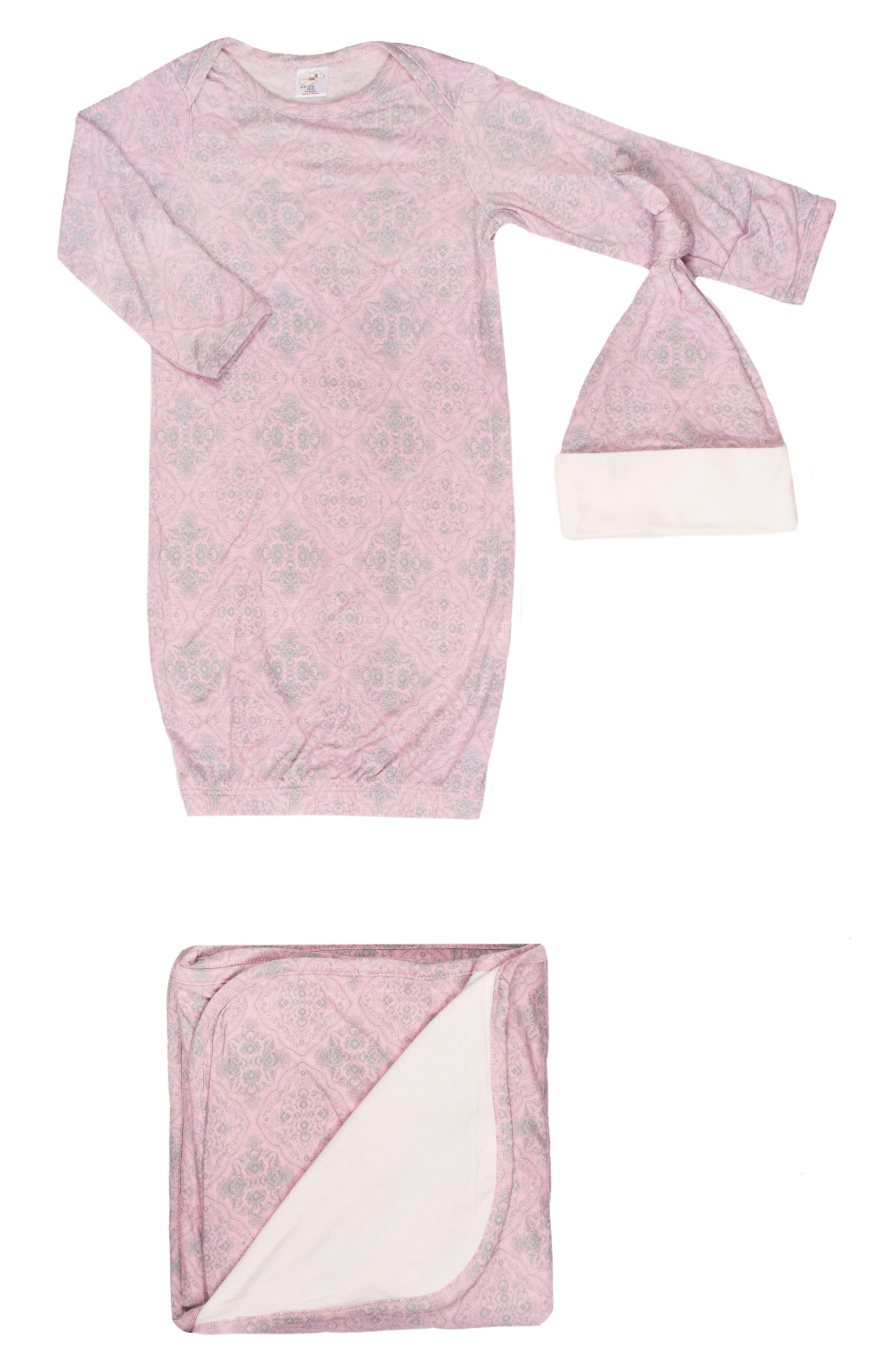 Print Gown, Hat & Blanket Set,                             Main thumbnail 1, color,                             Vintage