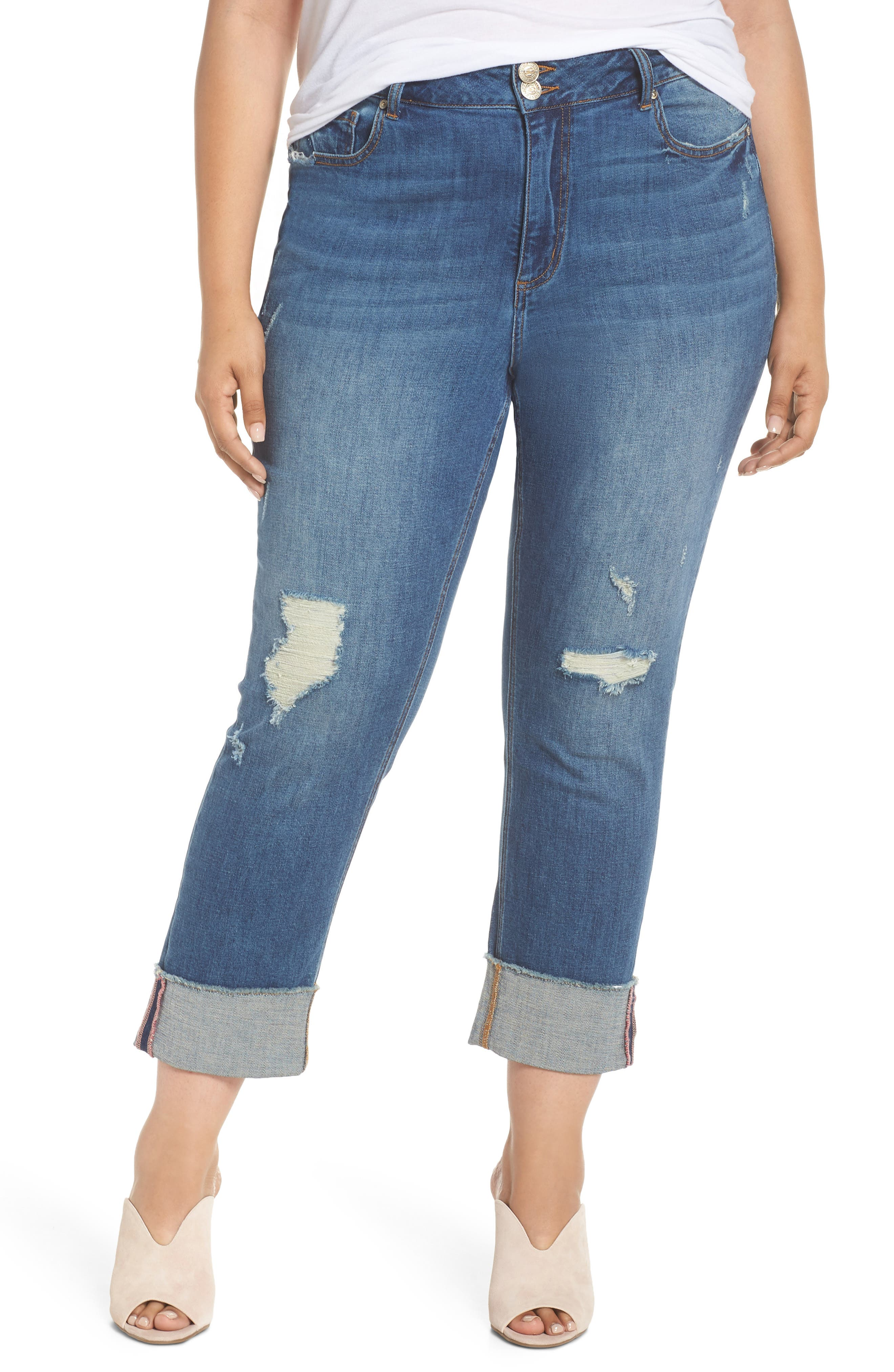Distressed Slim Raw Hem Cuffed Jeans,                             Main thumbnail 1, color,                             Blue