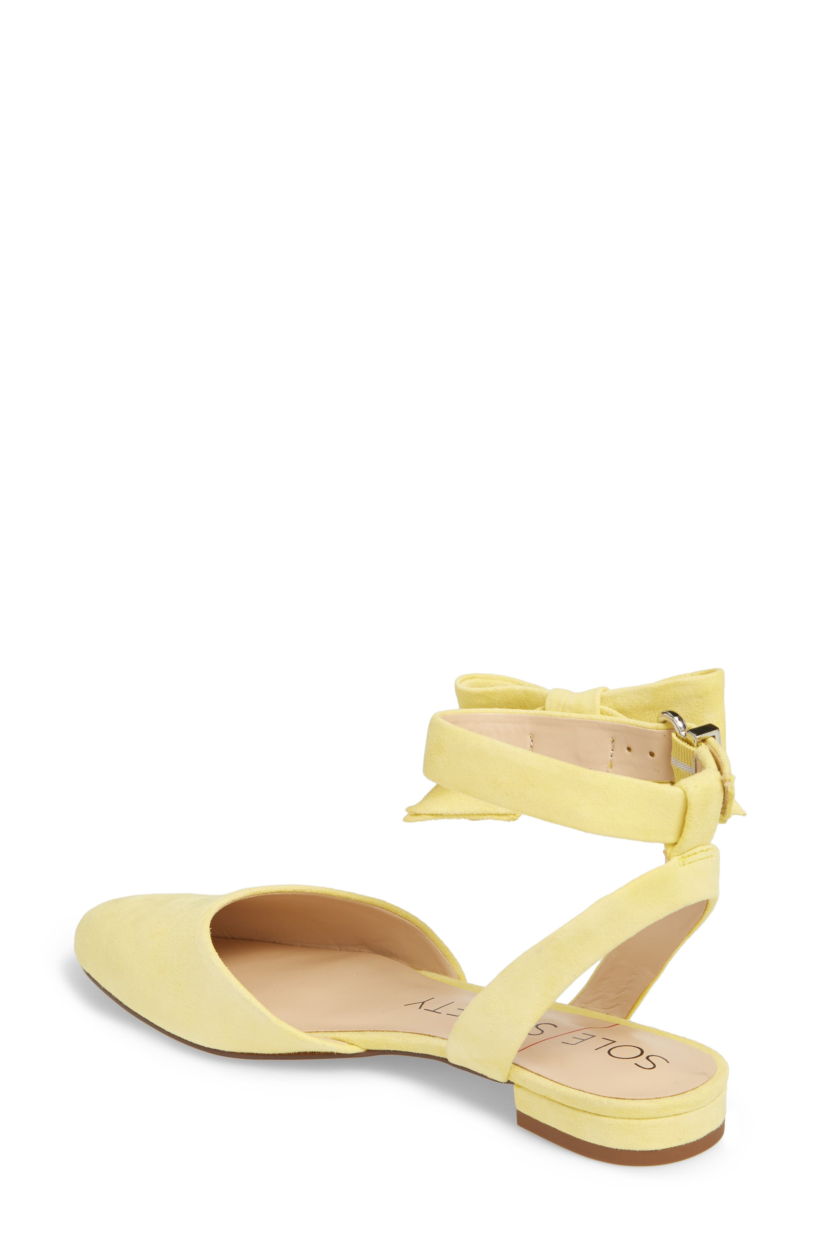 Pollie Flat,                             Alternate thumbnail 2, color,                             Pale Yellow Fabric
