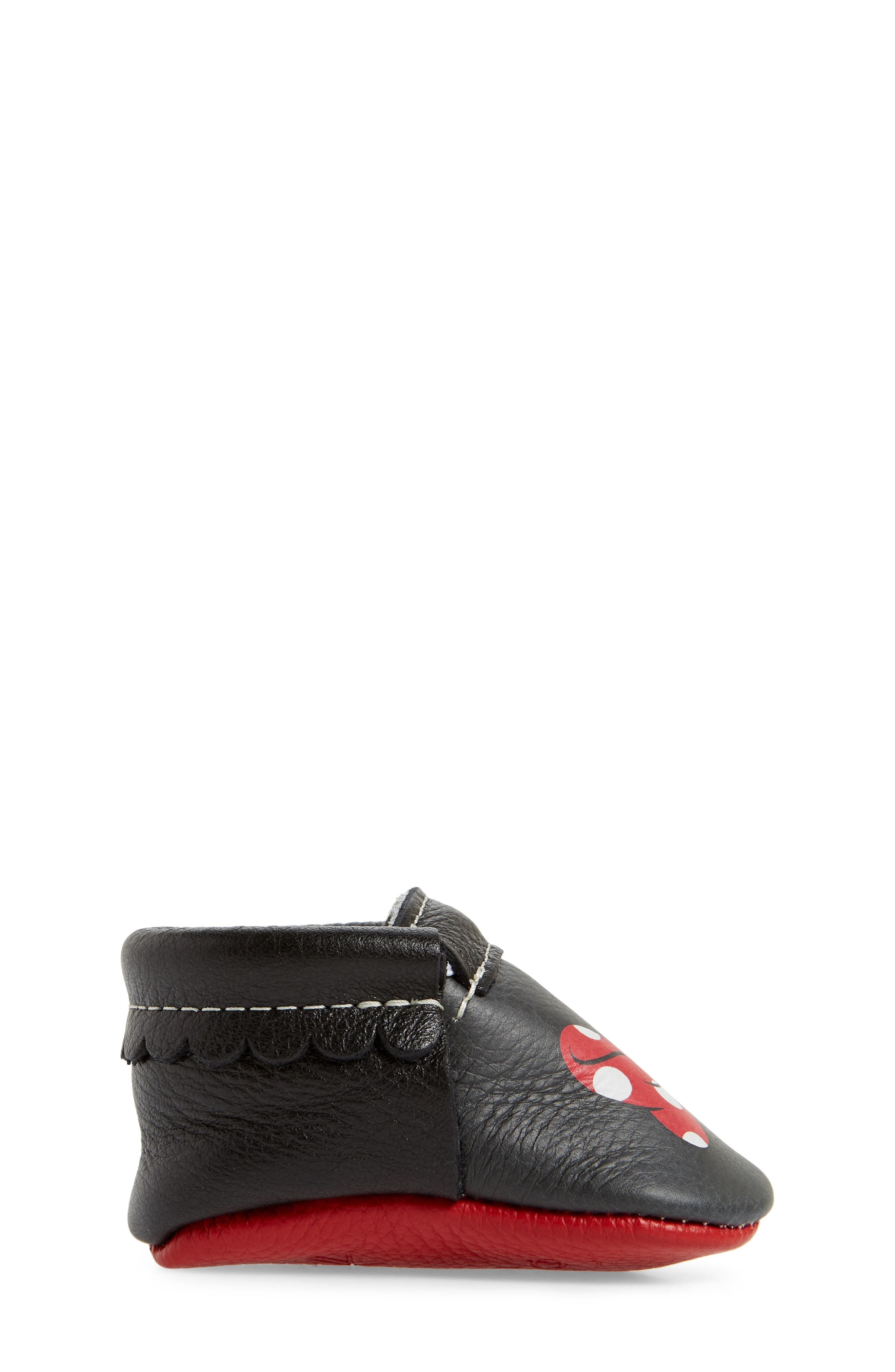x Disney<sup>®</sup> Baby Minnie Mouse Crib Moccasin,                             Alternate thumbnail 3, color,                             Black Leather