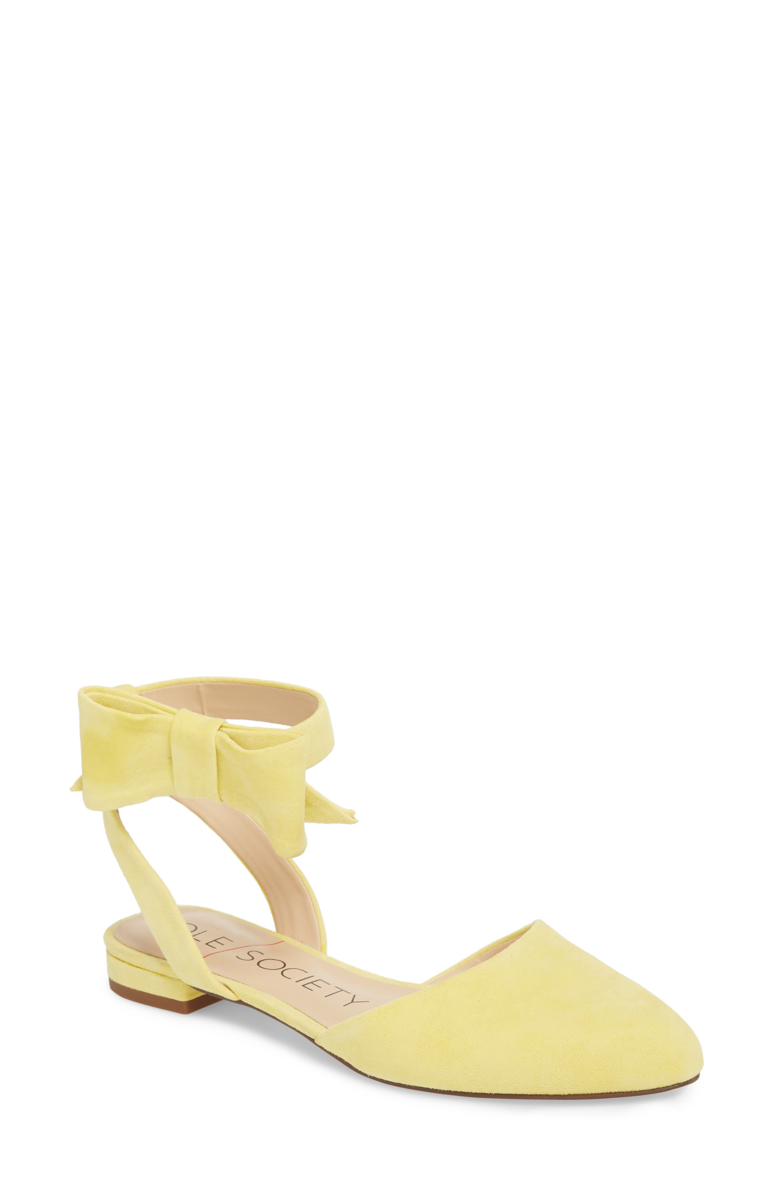 Pollie Flat,                             Main thumbnail 1, color,                             Pale Yellow Fabric
