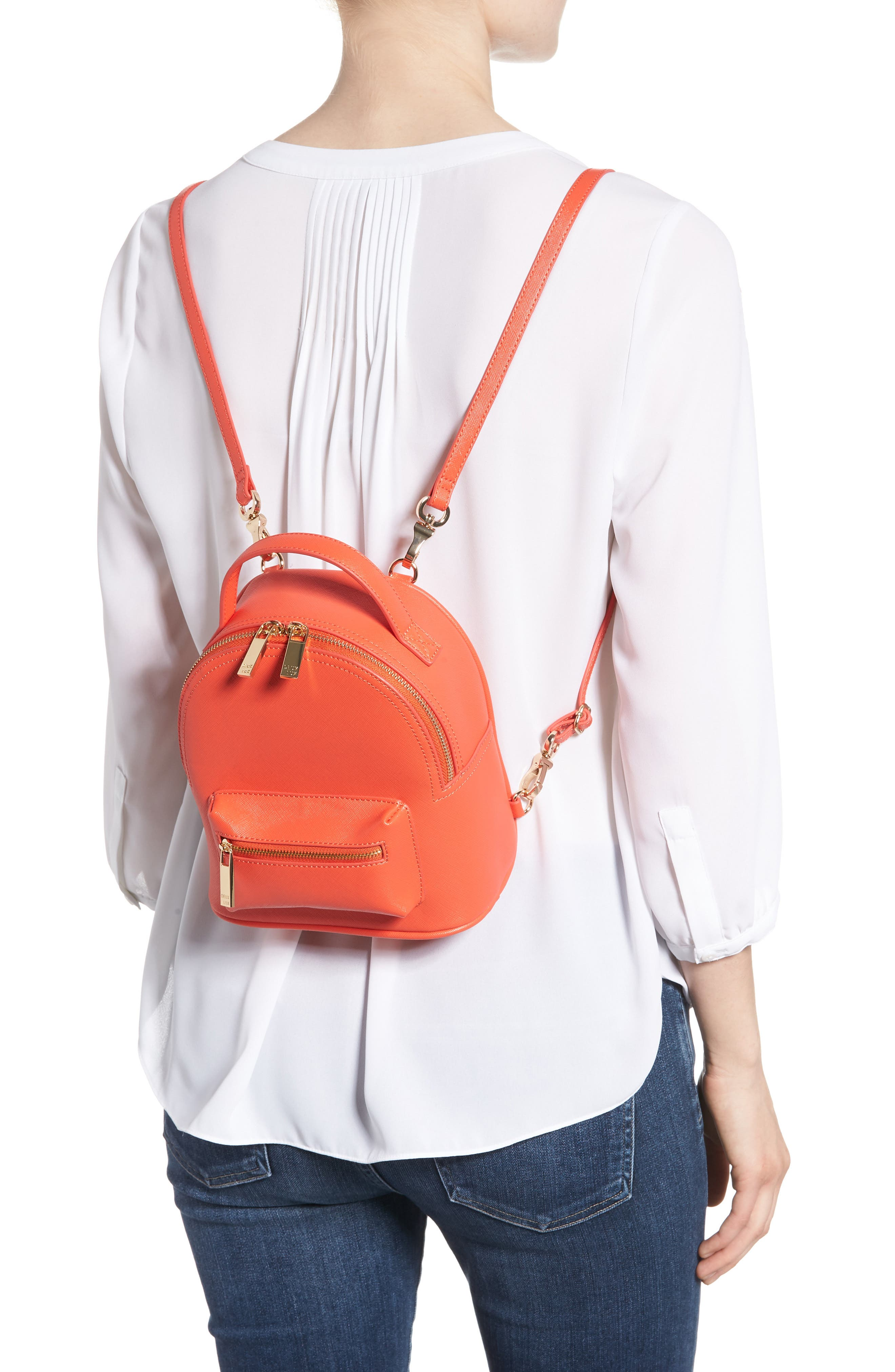 Annabelle Mini Faux Leather Backpack,                             Alternate thumbnail 2, color,                             Poppy