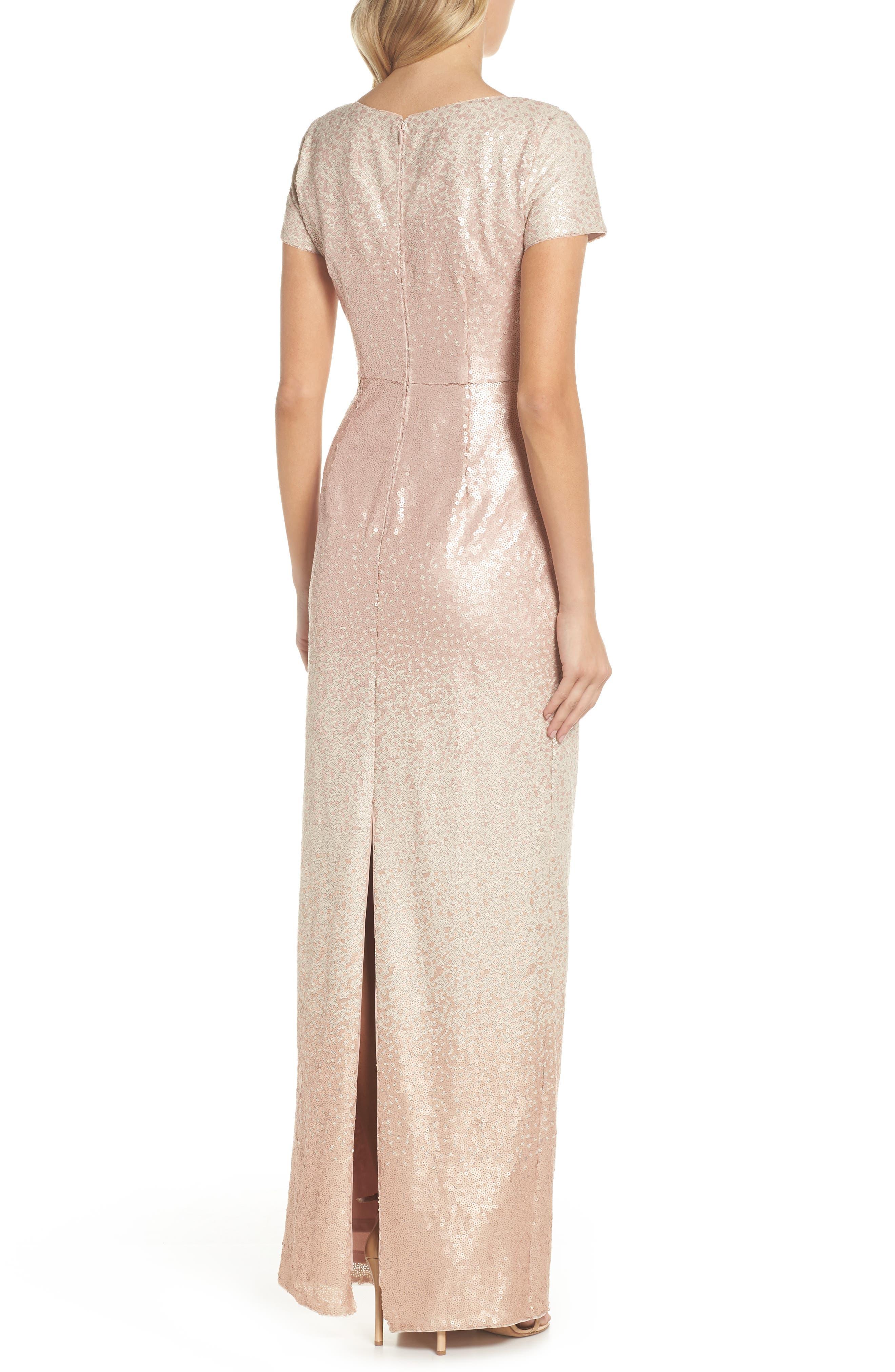 Ombré Sequin Gown,                             Alternate thumbnail 2, color,                             Blush Multi