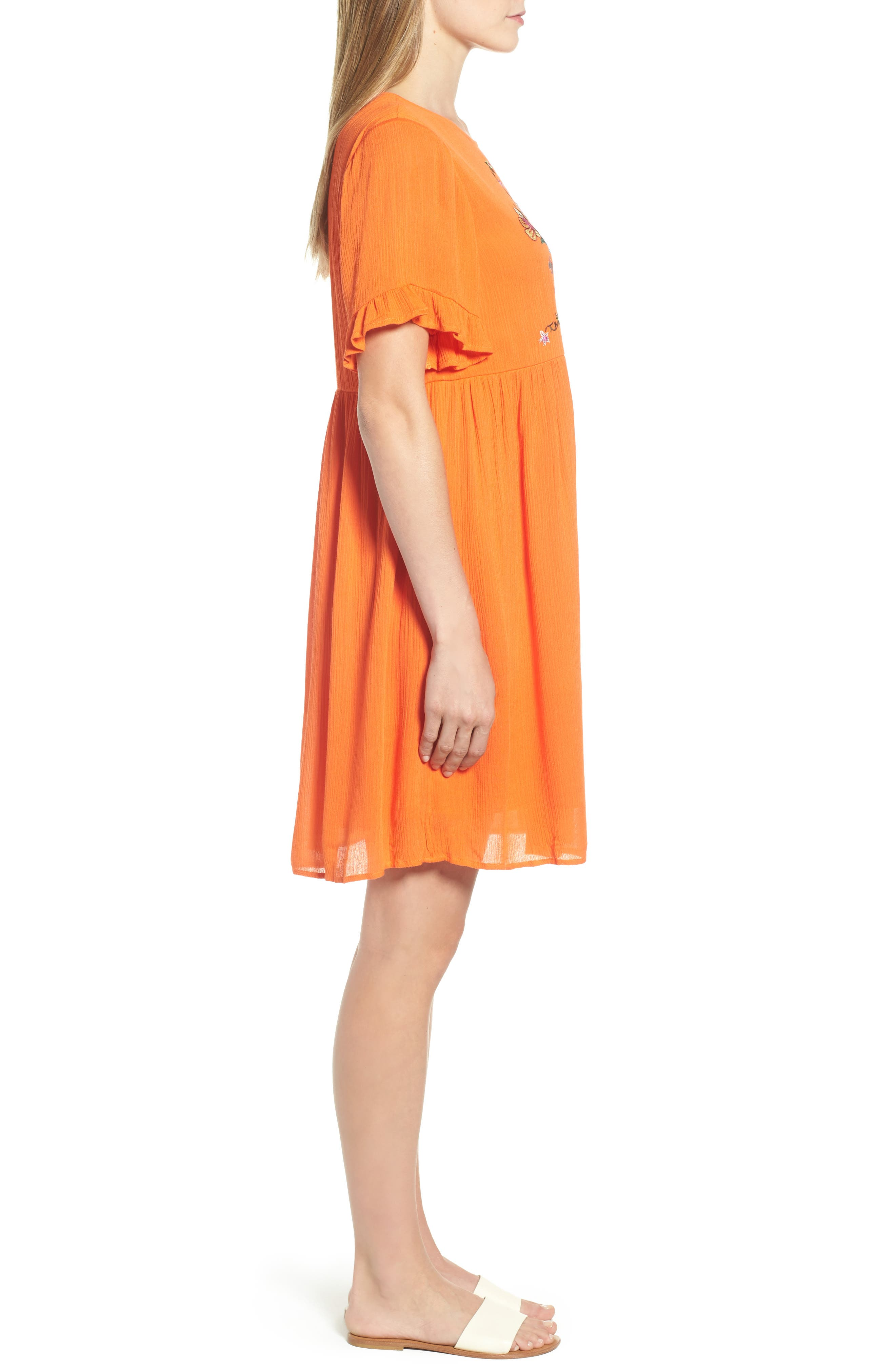 Embroidered Dress,                             Alternate thumbnail 3, color,                             Orange