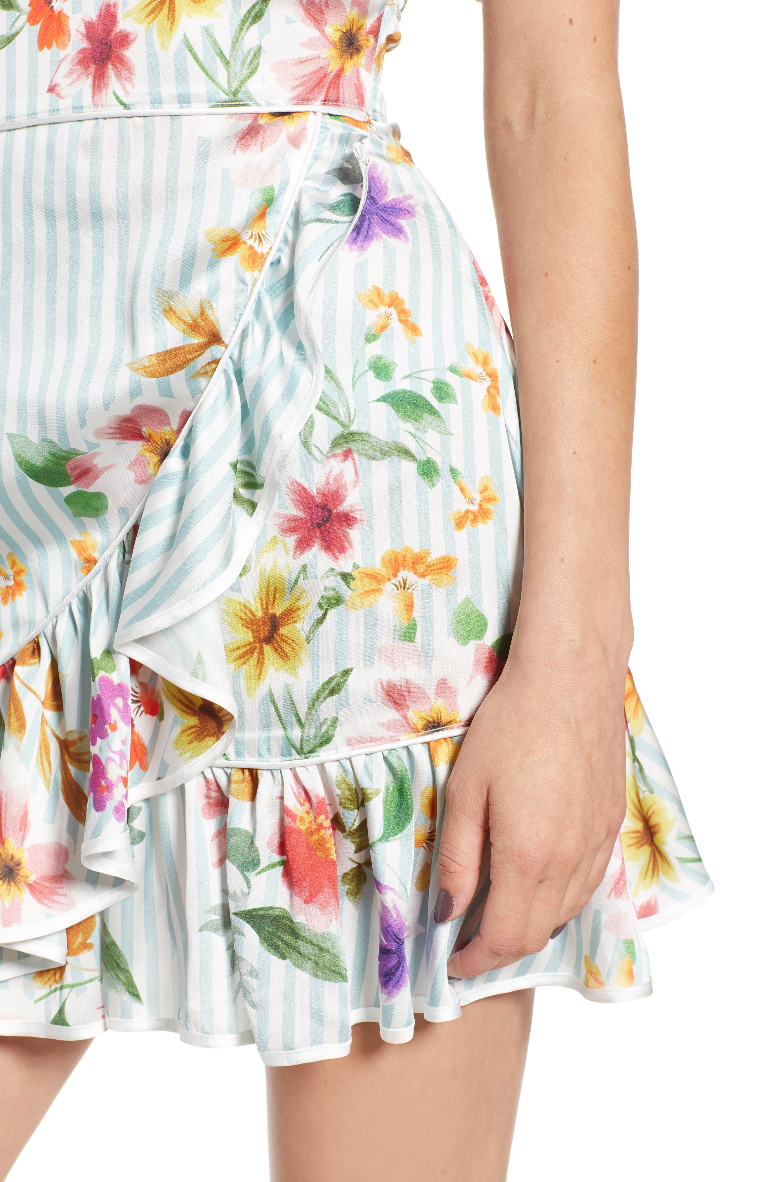 Barb Ruffle Dress,                             Alternate thumbnail 4, color,                             Blue Flowerbed