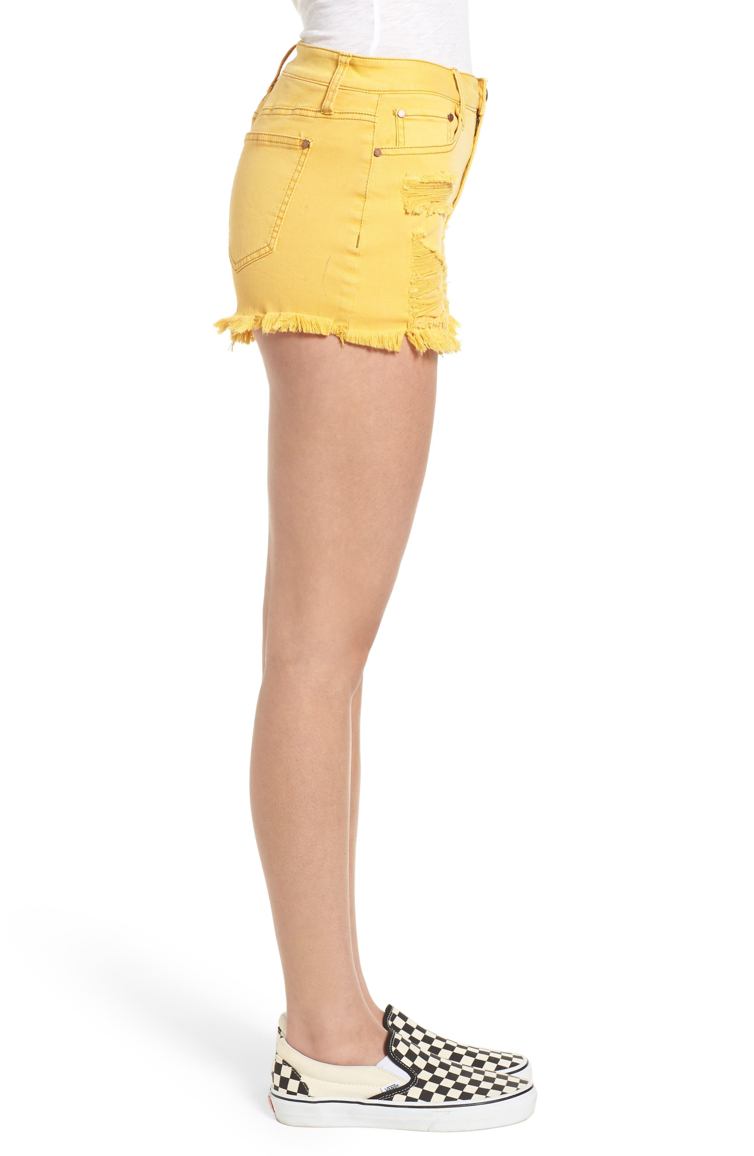Decon Ripped Denim Shorts,                             Alternate thumbnail 3, color,                             Marigold