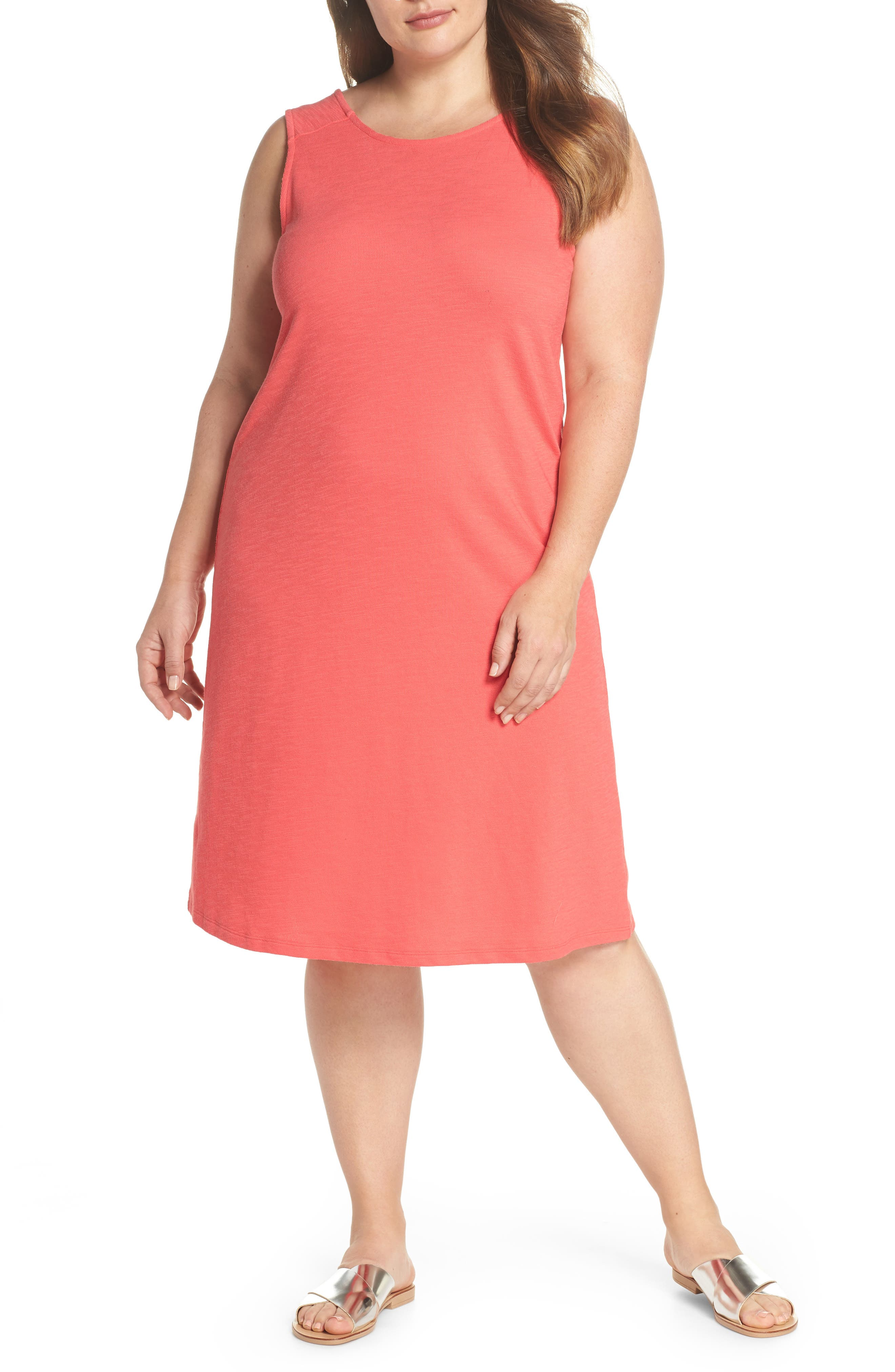Button Back Knit Dress,                             Main thumbnail 1, color,                             Coral Rose