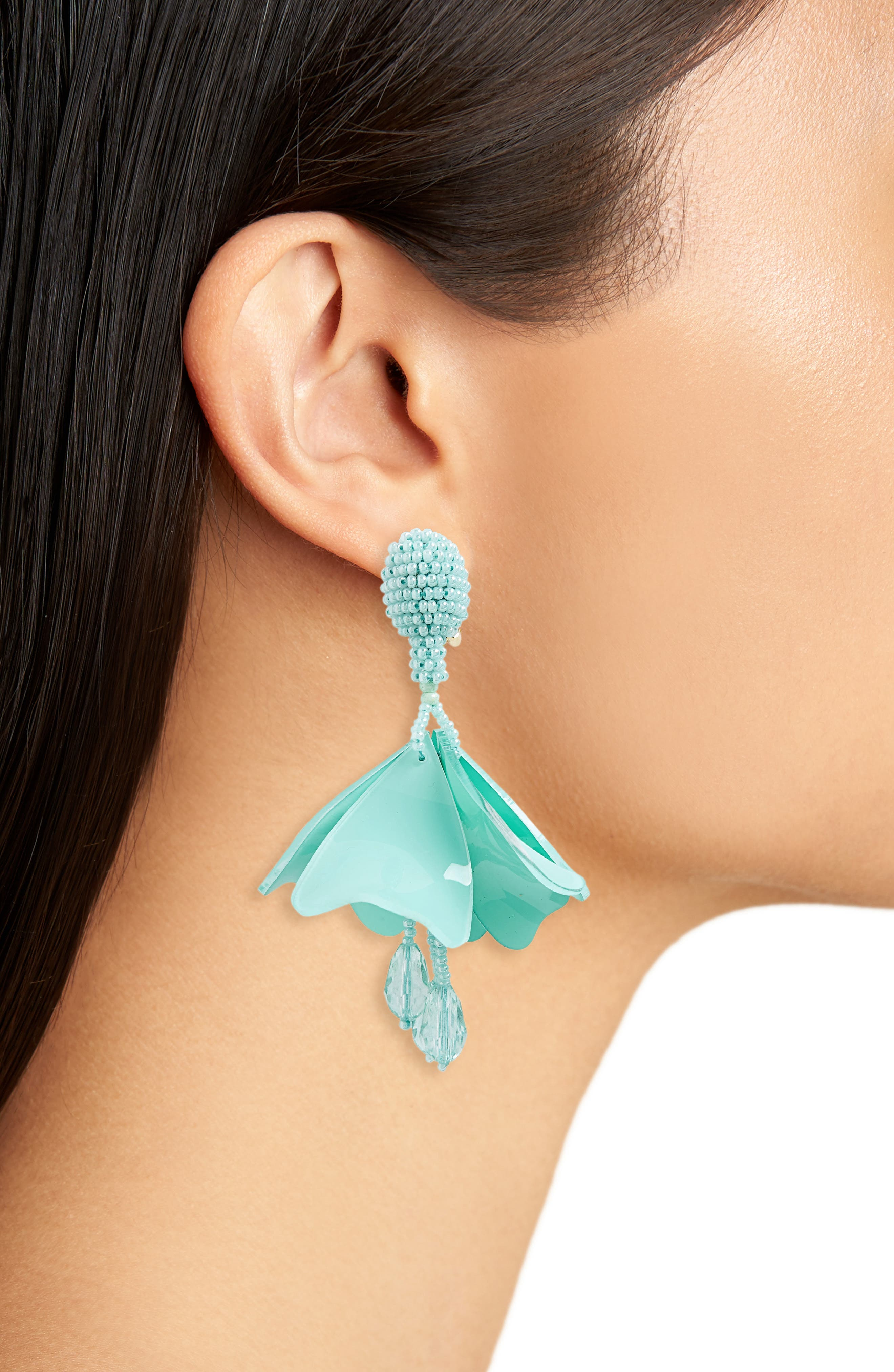 Small Impatiens Flower Drop Clip Earrings,                             Alternate thumbnail 2, color,                             Pistachio
