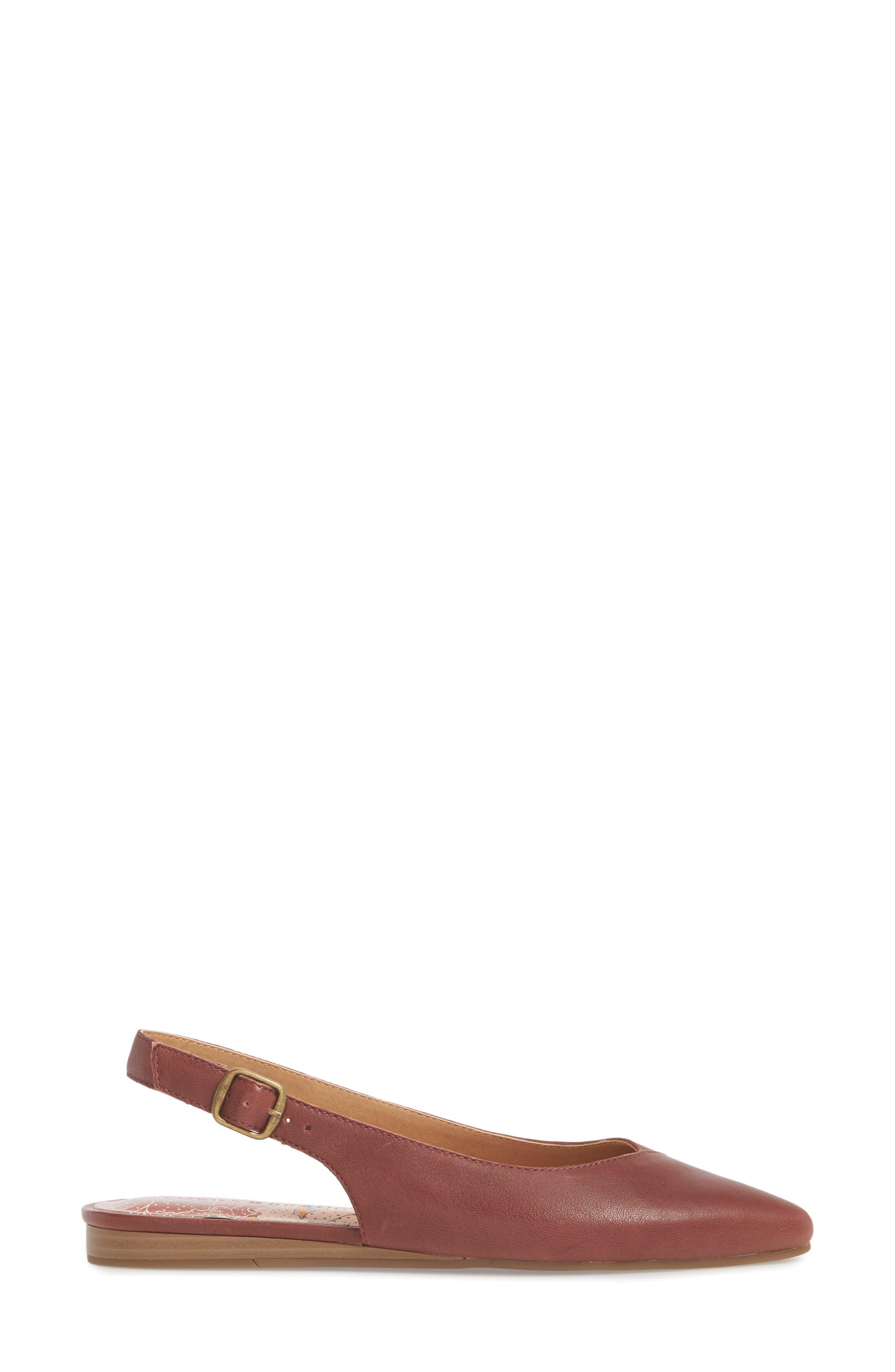 Beratan Slingback Flat,                             Alternate thumbnail 3, color,                             Burgundy Leather
