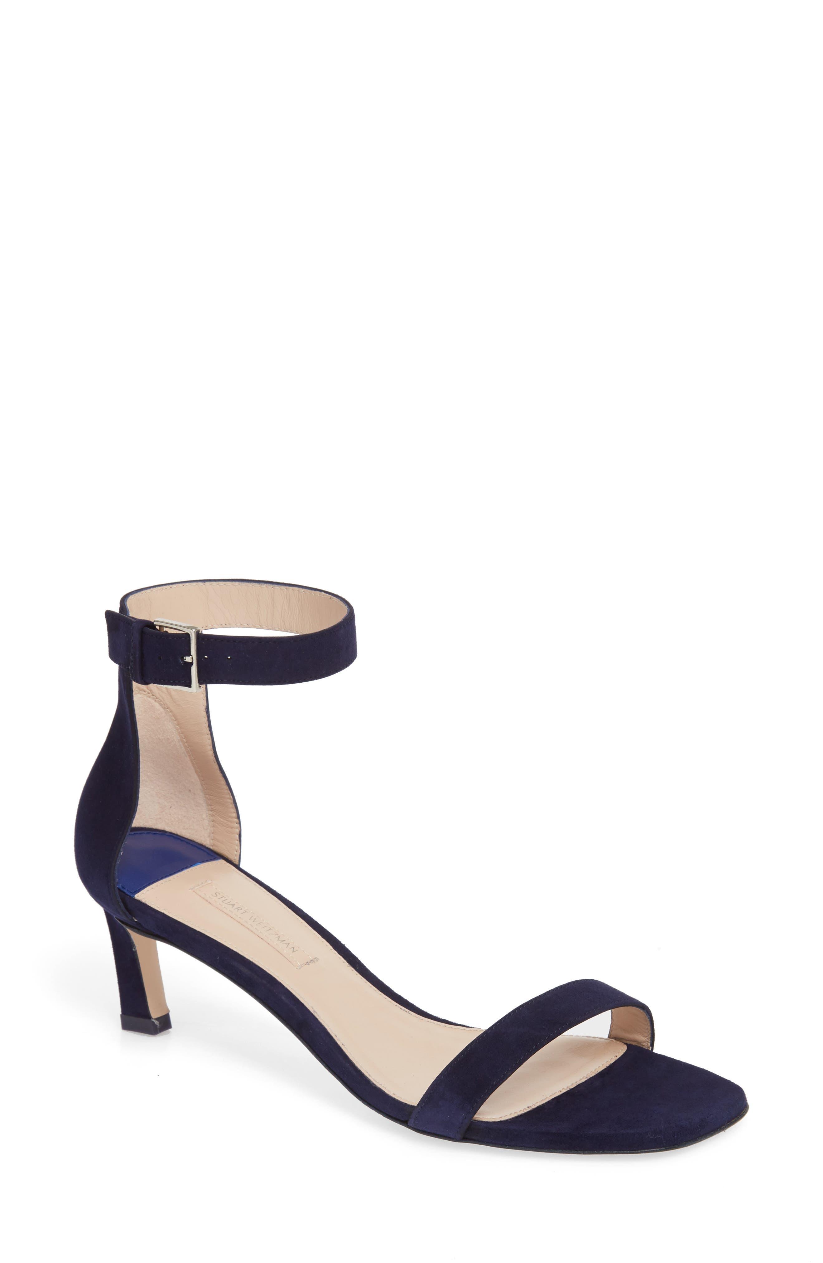 Stuart Weitzman 45SQUARENUDIST Ankle Strap Sandal (Women)