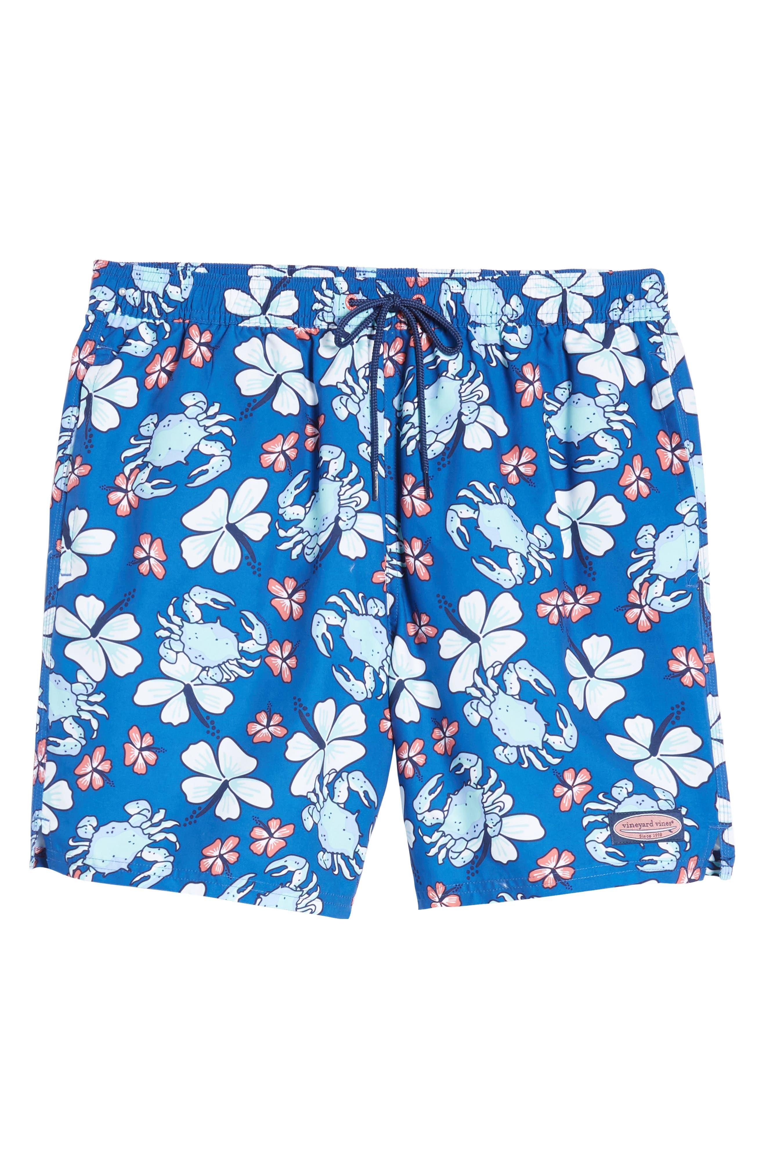 Chappy Crab Floral Swim Trunks,                             Alternate thumbnail 6, color,                             Yacht Blue