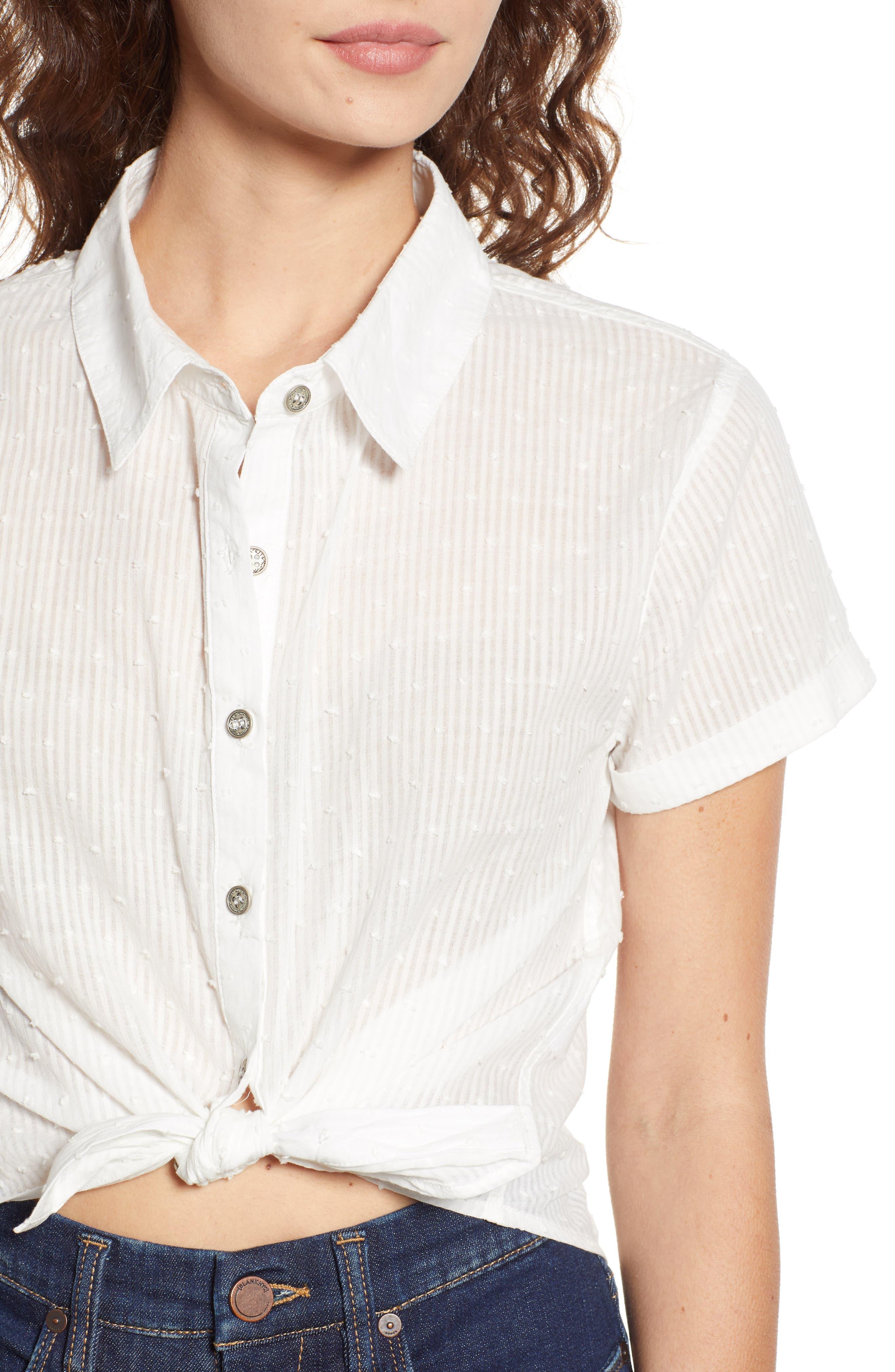 Tie Hem Swiss Dot Camp Shirt,                             Alternate thumbnail 4, color,                             White