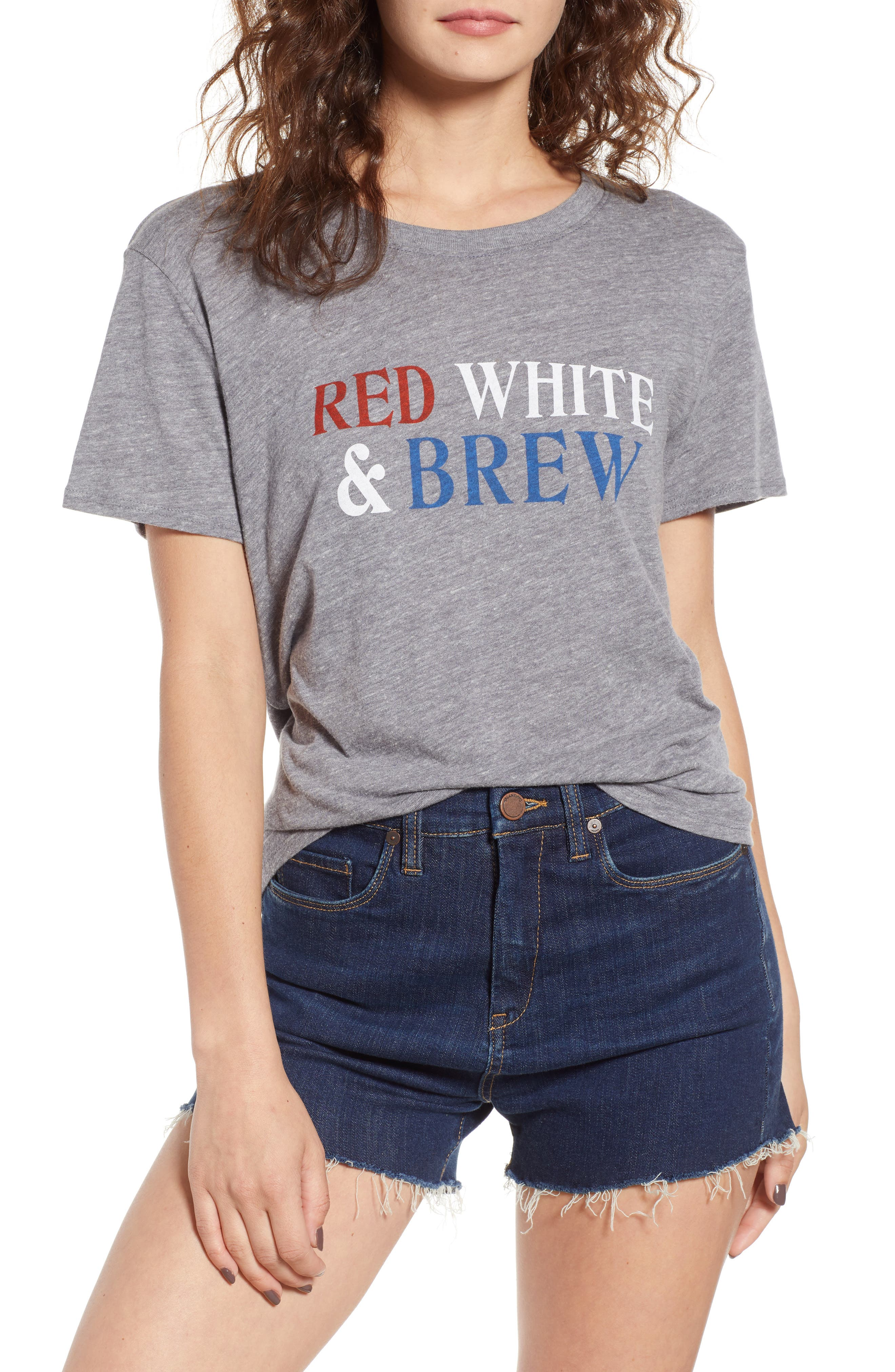 Red, White & Brew Graphic Tee,                         Main,                         color, Heather Grey