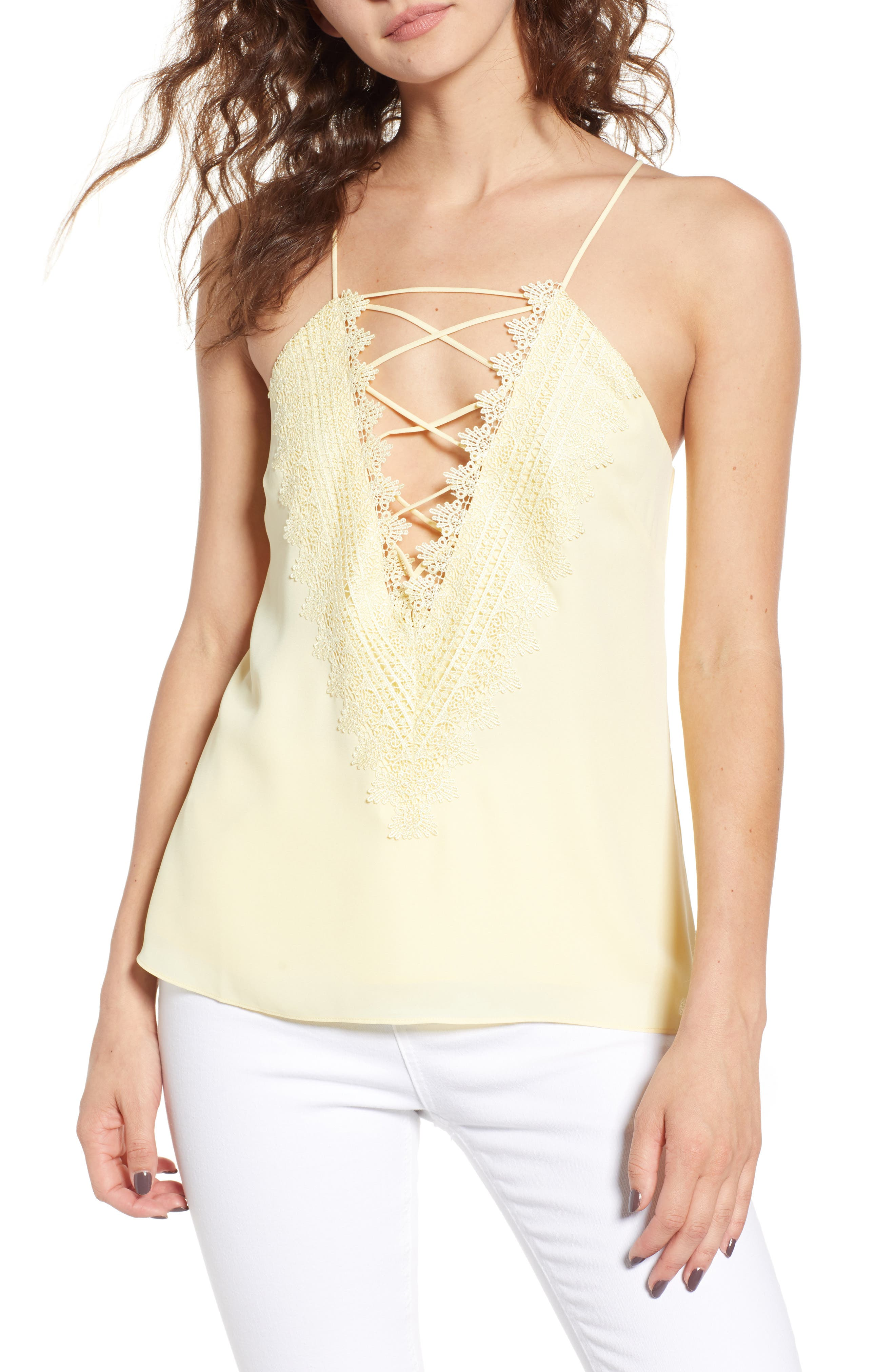 Posie Strappy Camisole,                         Main,                         color, Yellow Pastel