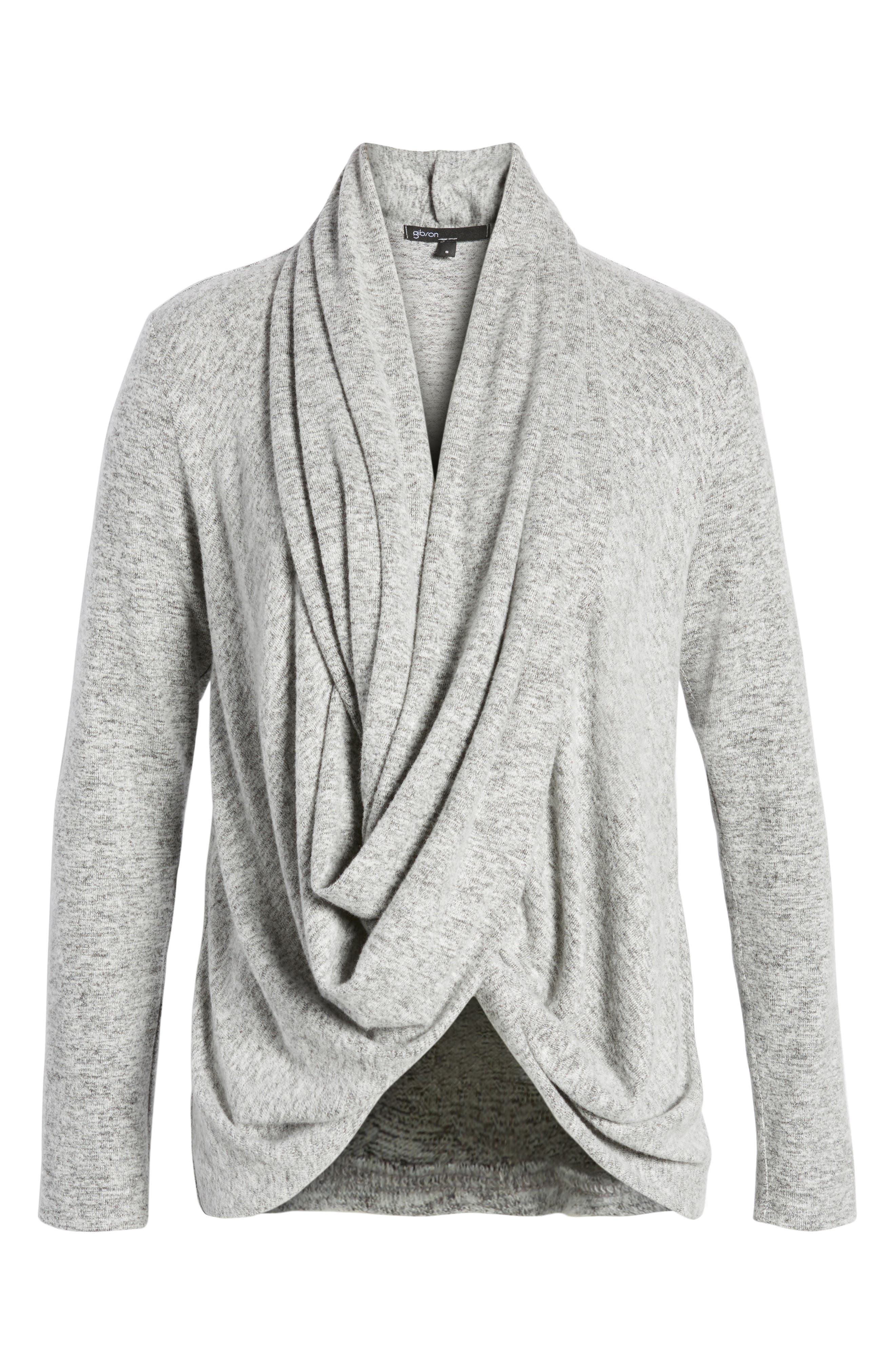 Convertible Cozy Fleece Wrap Cardigan,                             Alternate thumbnail 5, color,                             Heather Grey