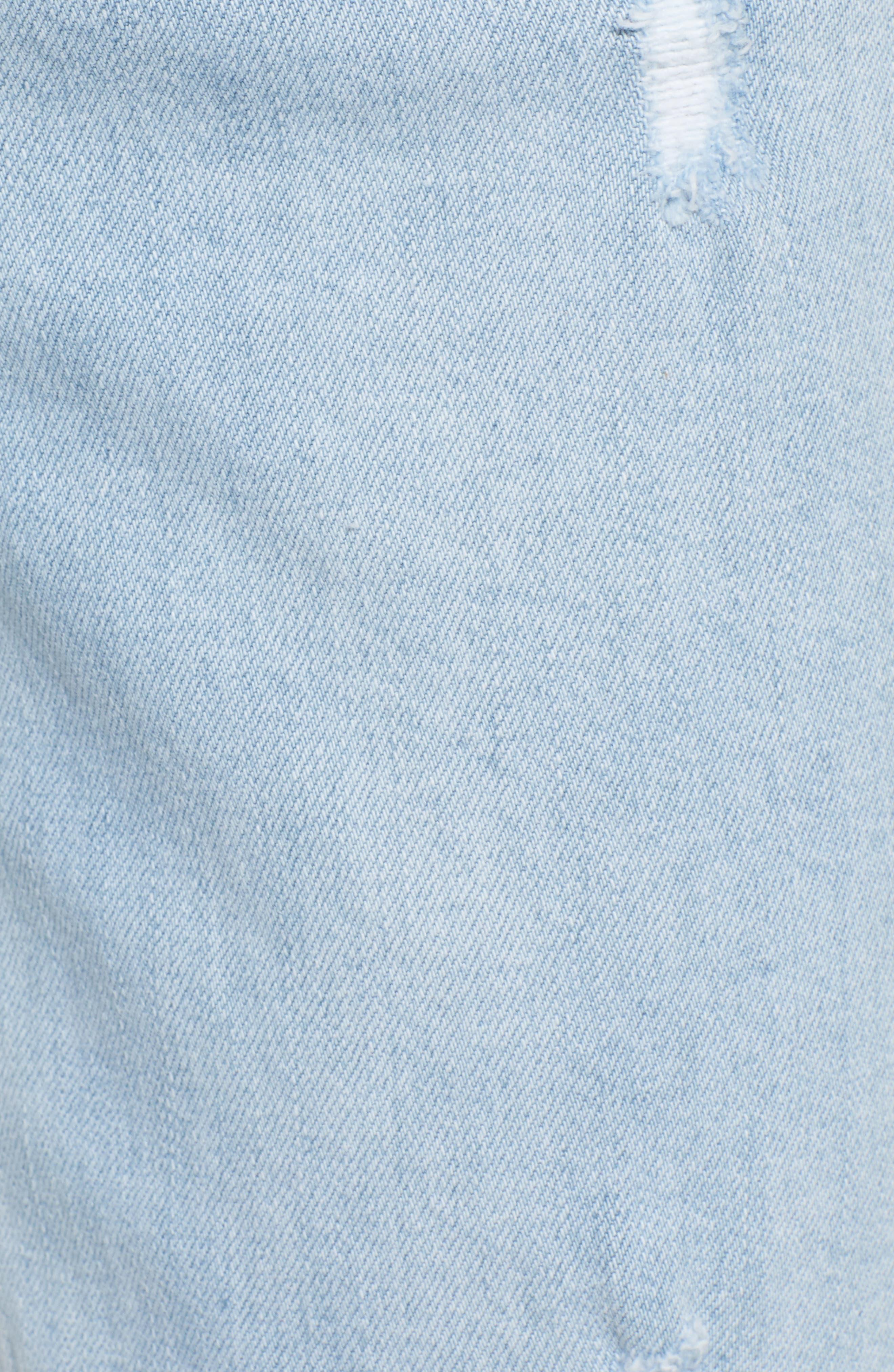 Grommet Hem Distressed Crop Jeans,                             Alternate thumbnail 6, color,                             Light Wash