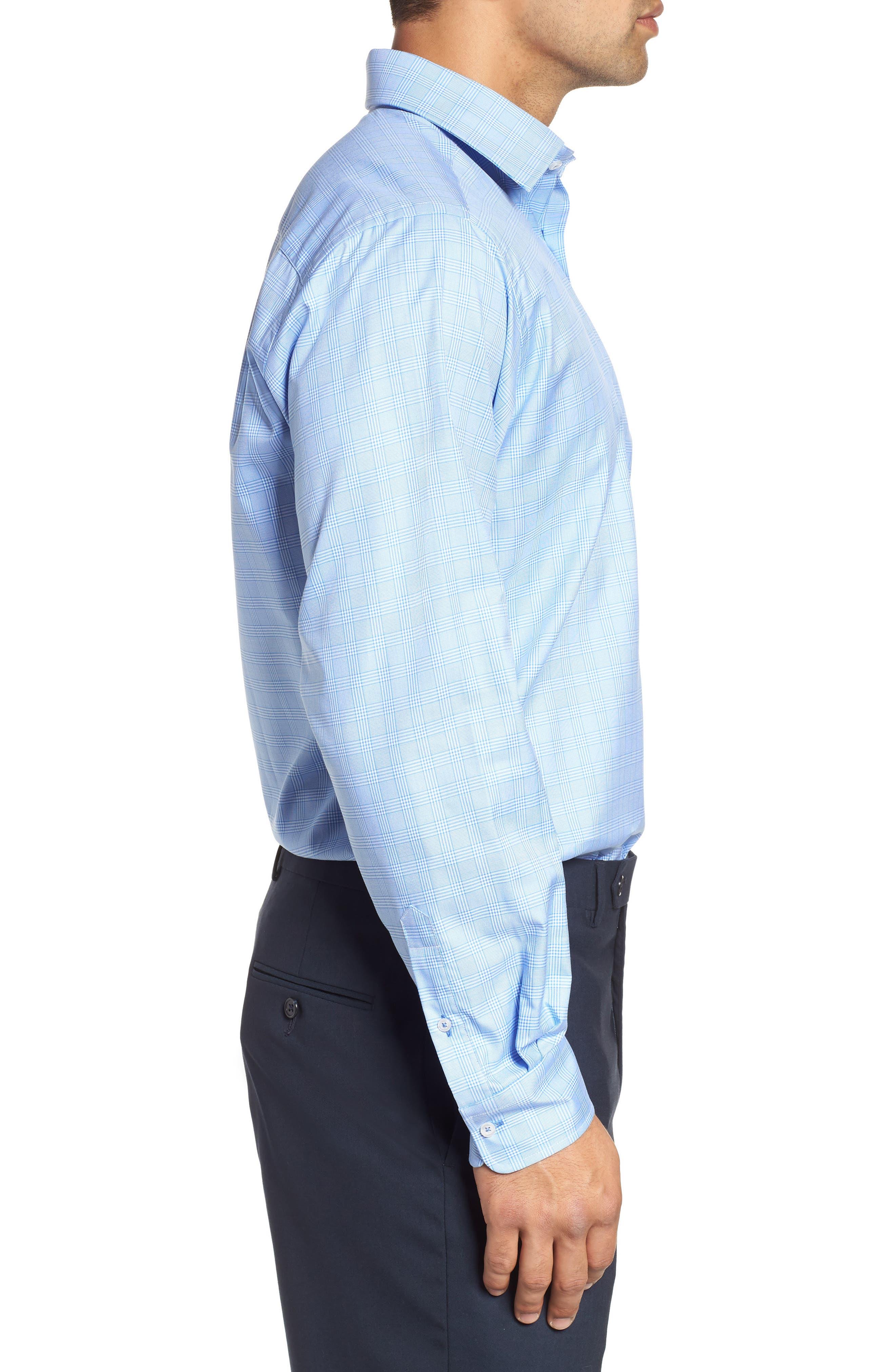 Regular Fit Plaid Dress Shirt,                             Alternate thumbnail 4, color,                             Blue