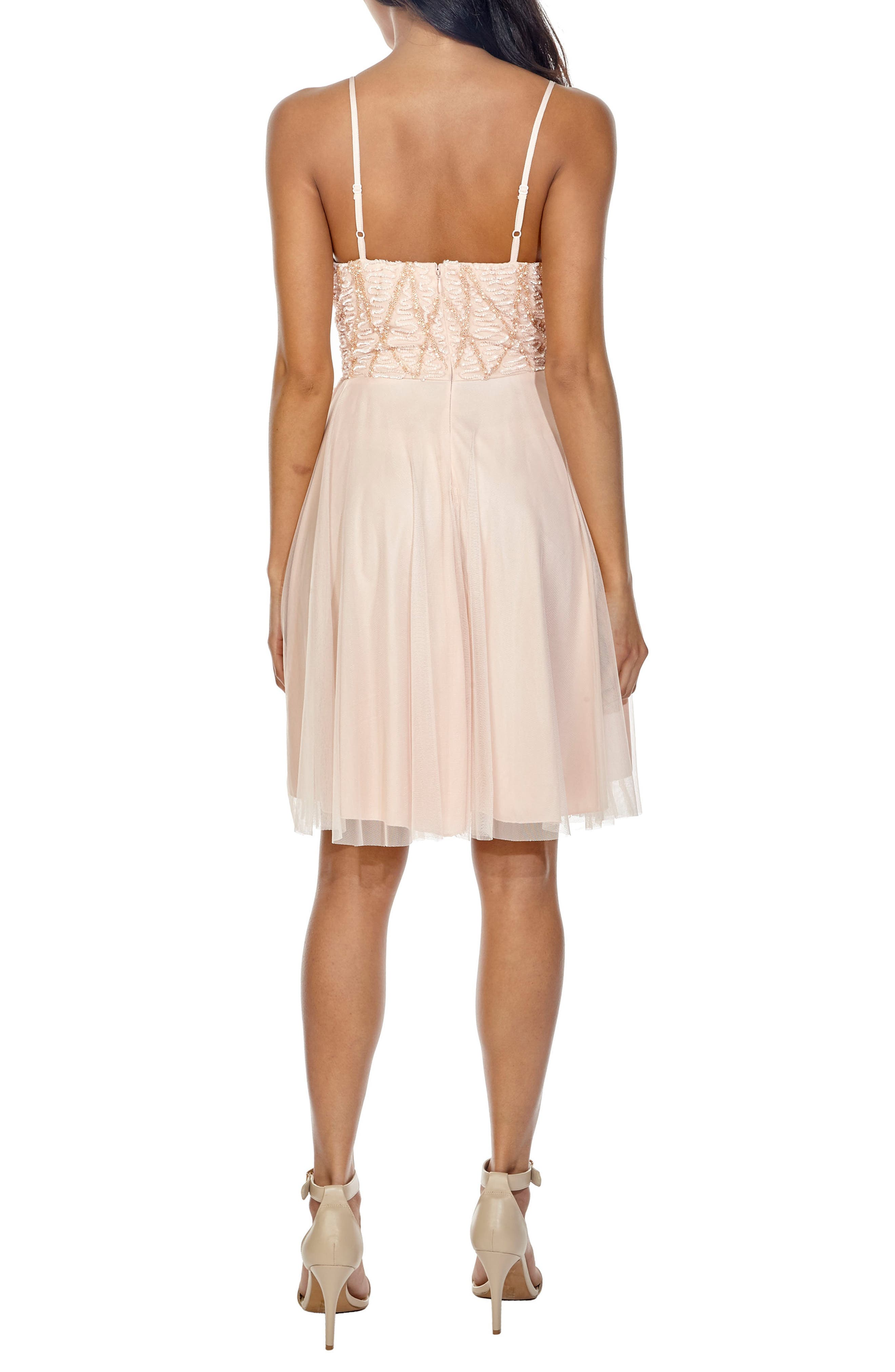 Plunging Sequin Fit & Flare Dress,                             Alternate thumbnail 2, color,                             Nude