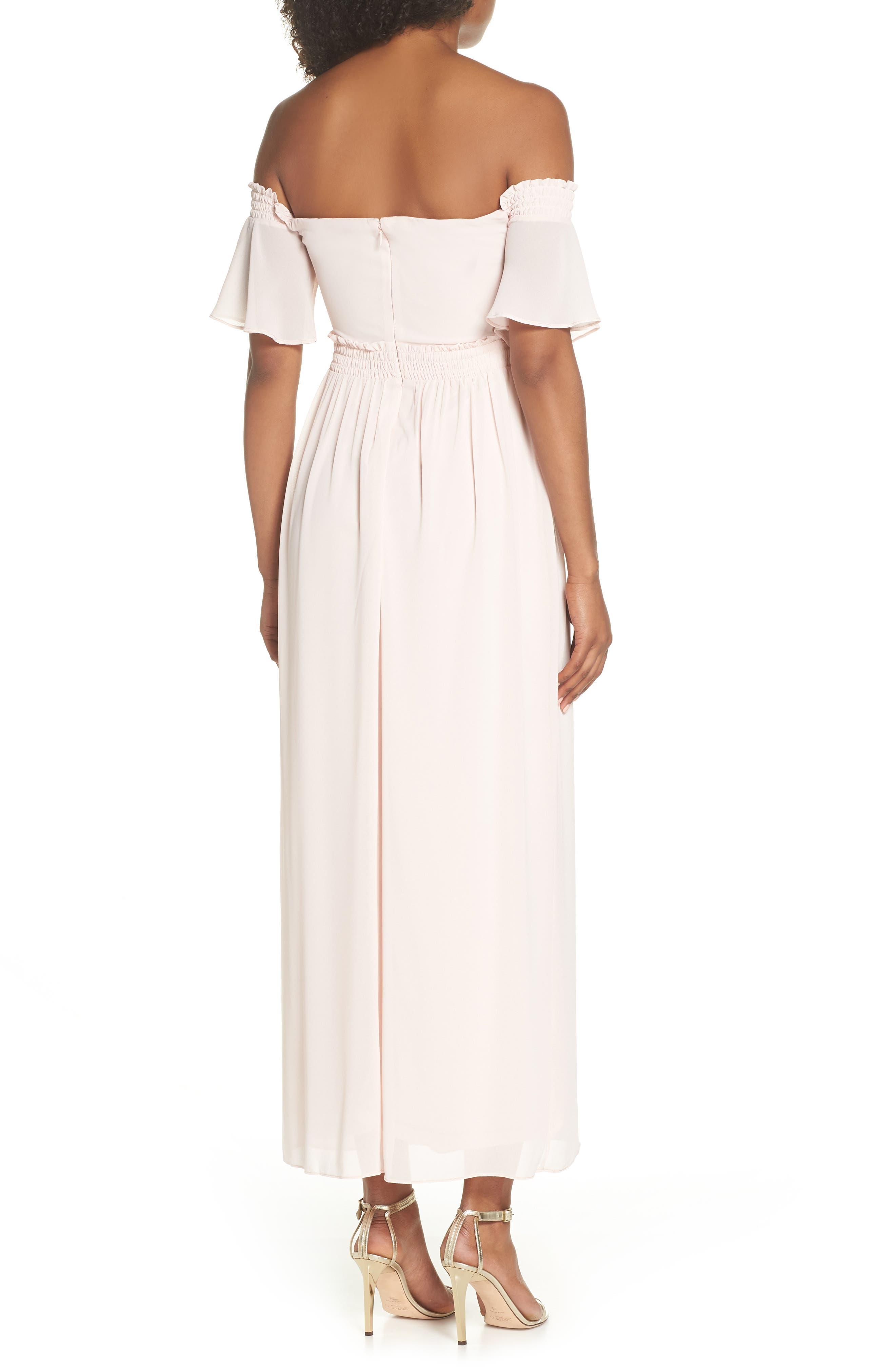 Freida Off the Shoulder Maxi Dress,                             Alternate thumbnail 2, color,                             Peach Blush