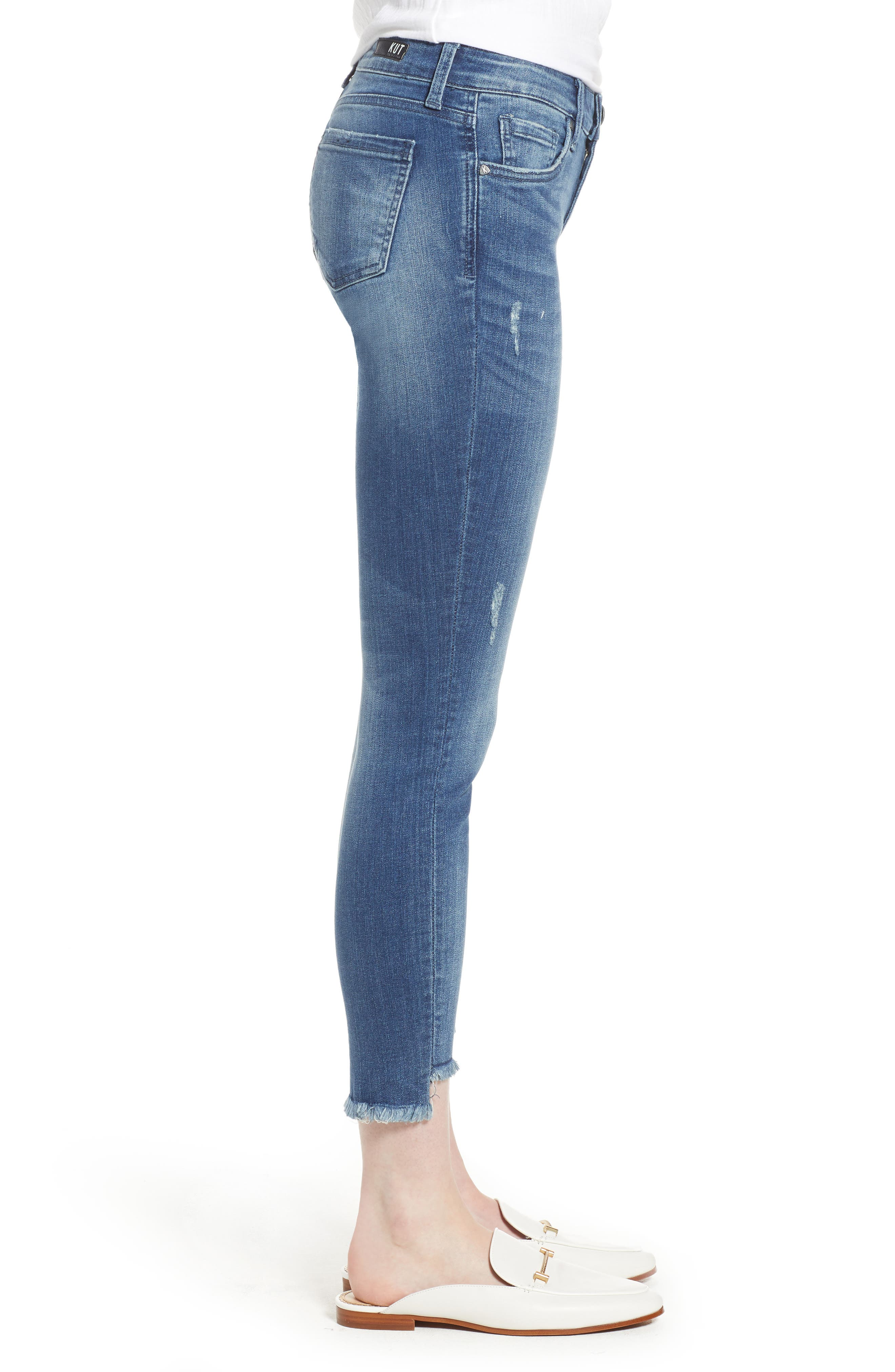 KUT from the Kloth Connie Step Hem Ankle Skinny Jeans,                             Alternate thumbnail 3, color,                             Healthful
