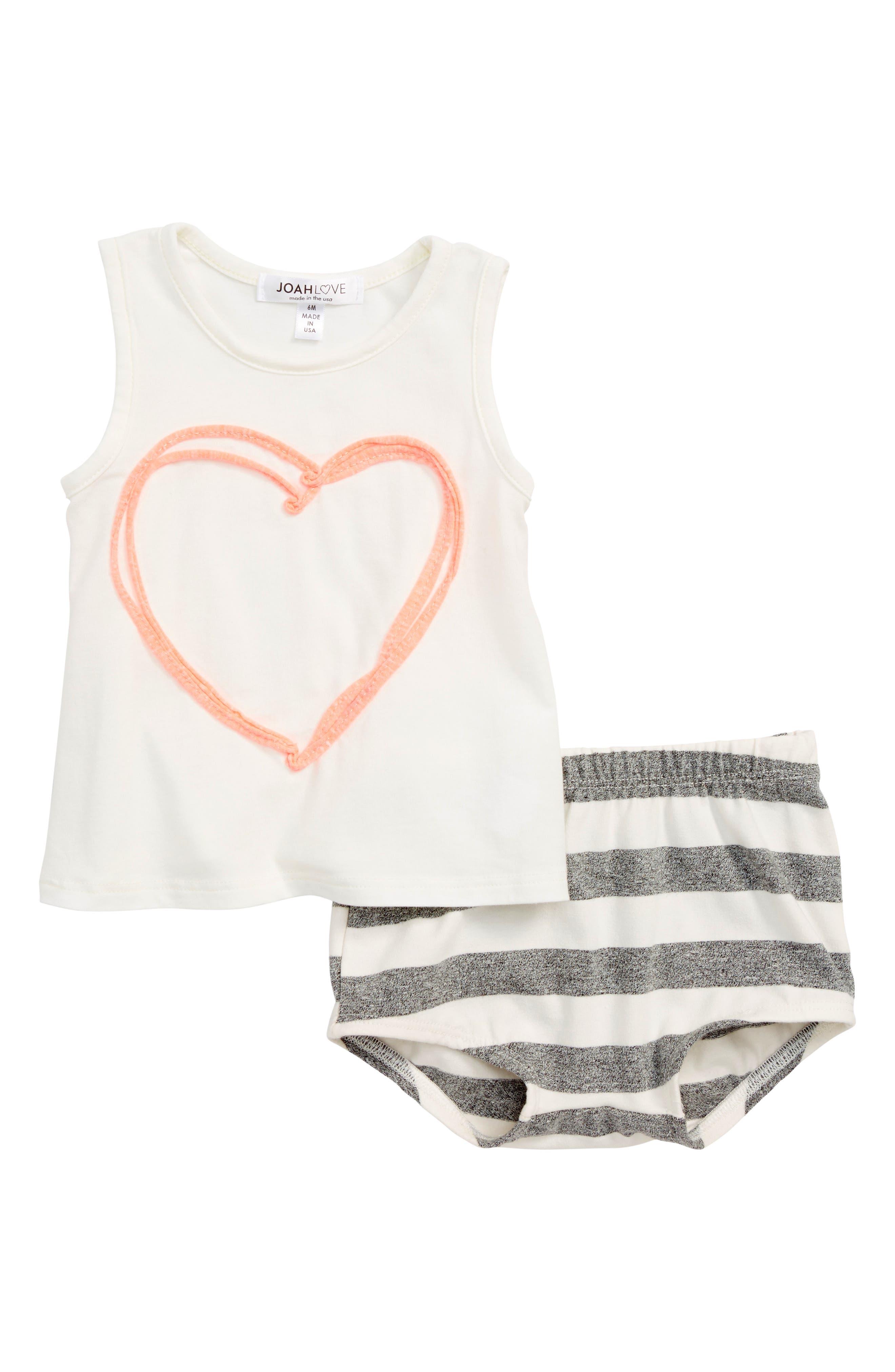 Joah Love Heart Tank & Stripe Shorts Set (Baby Girls)