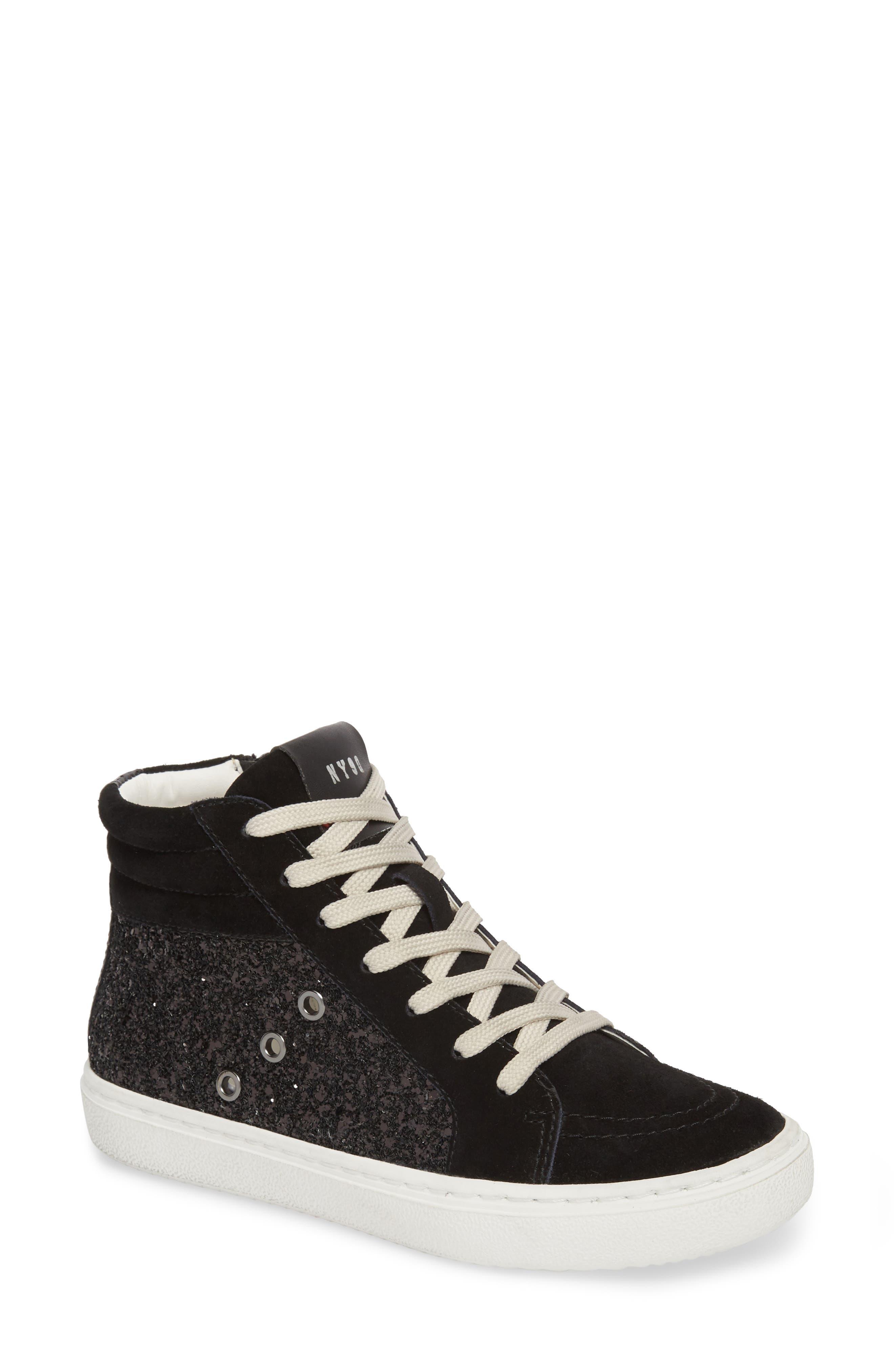 Serena Mixed Media Sneaker,                         Main,                         color, Black