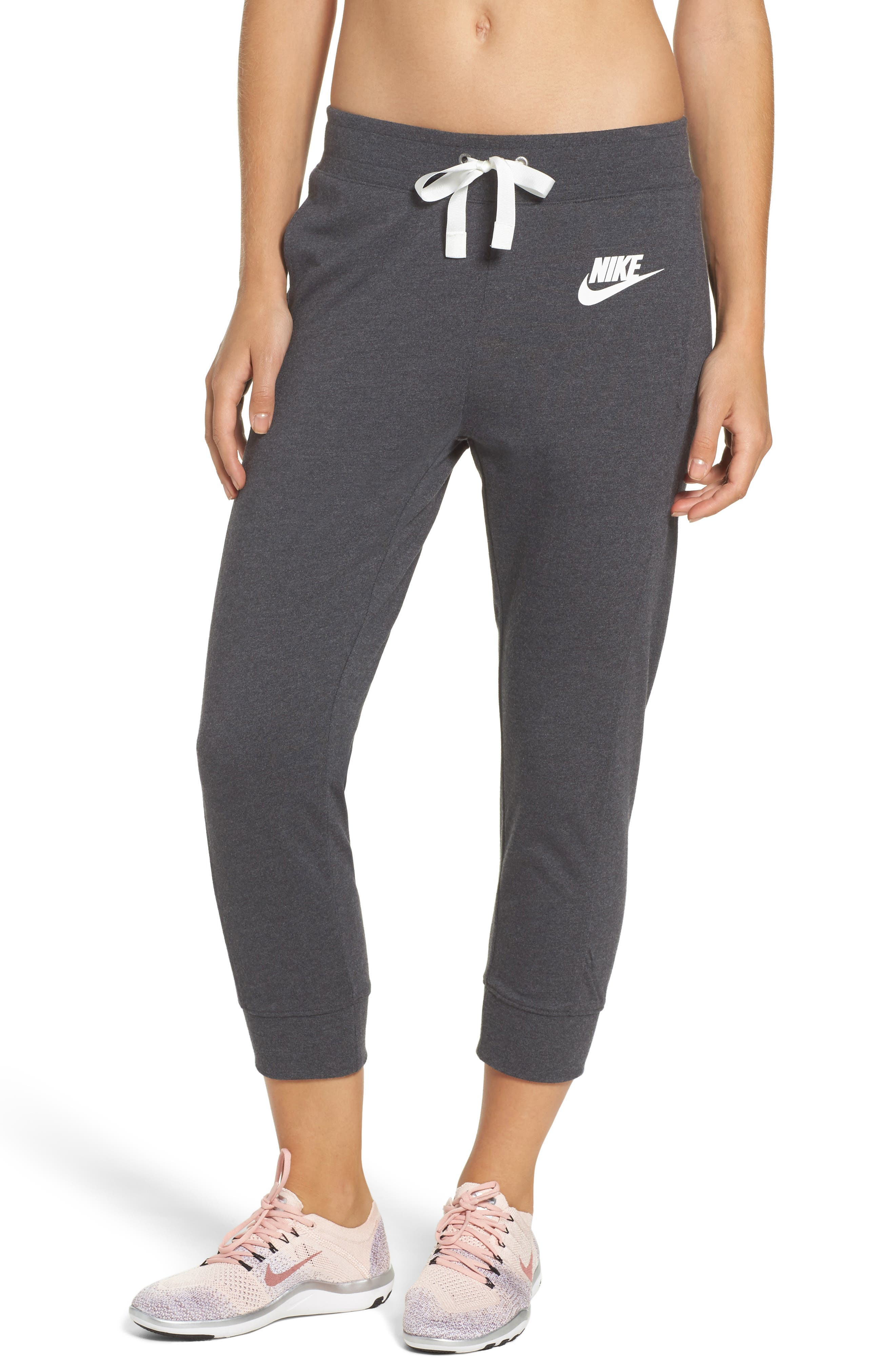 Sportswear Gym Capris,                             Main thumbnail 1, color,                             Black Heather/ Sail