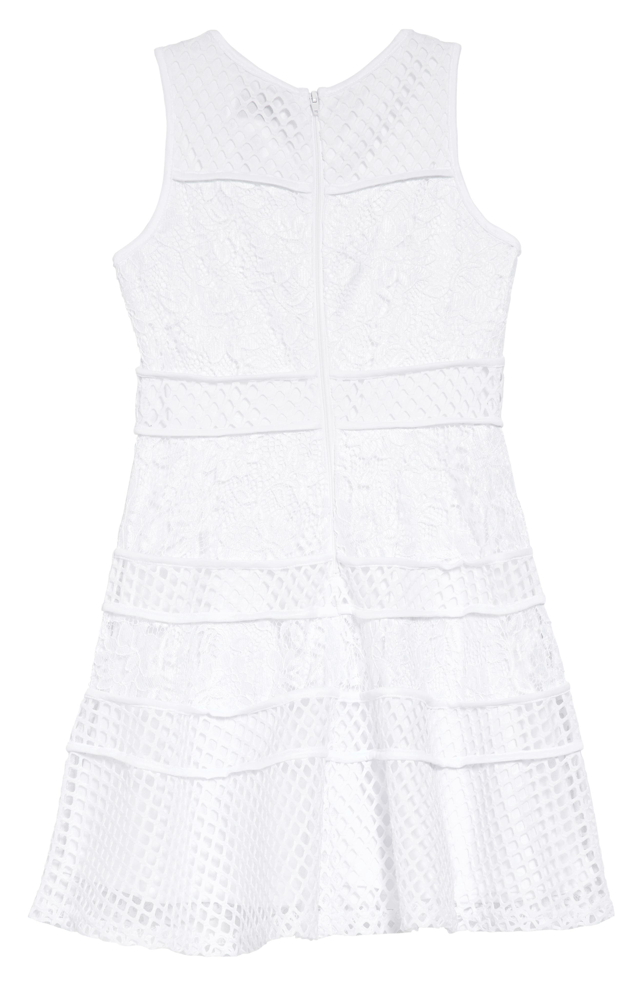 Lace & Mesh Tiered Dress,                             Alternate thumbnail 2, color,                             White