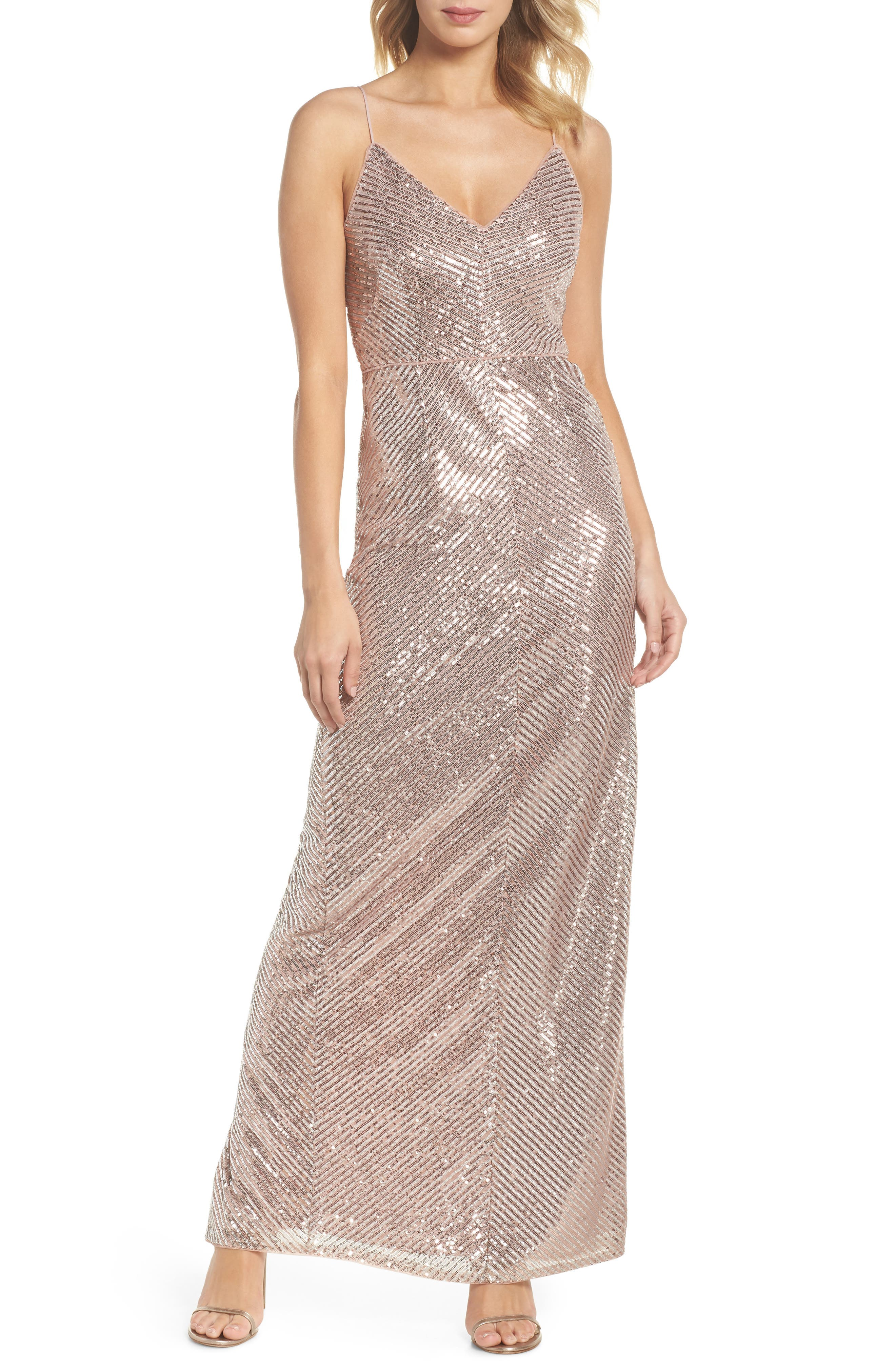 Stripe Sequin Gown,                             Main thumbnail 1, color,                             Rose Gold