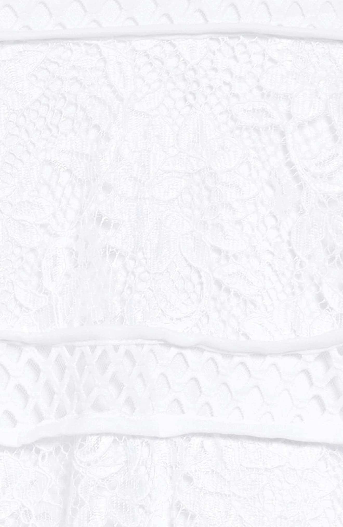 Lace & Mesh Tiered Dress,                             Alternate thumbnail 3, color,                             White