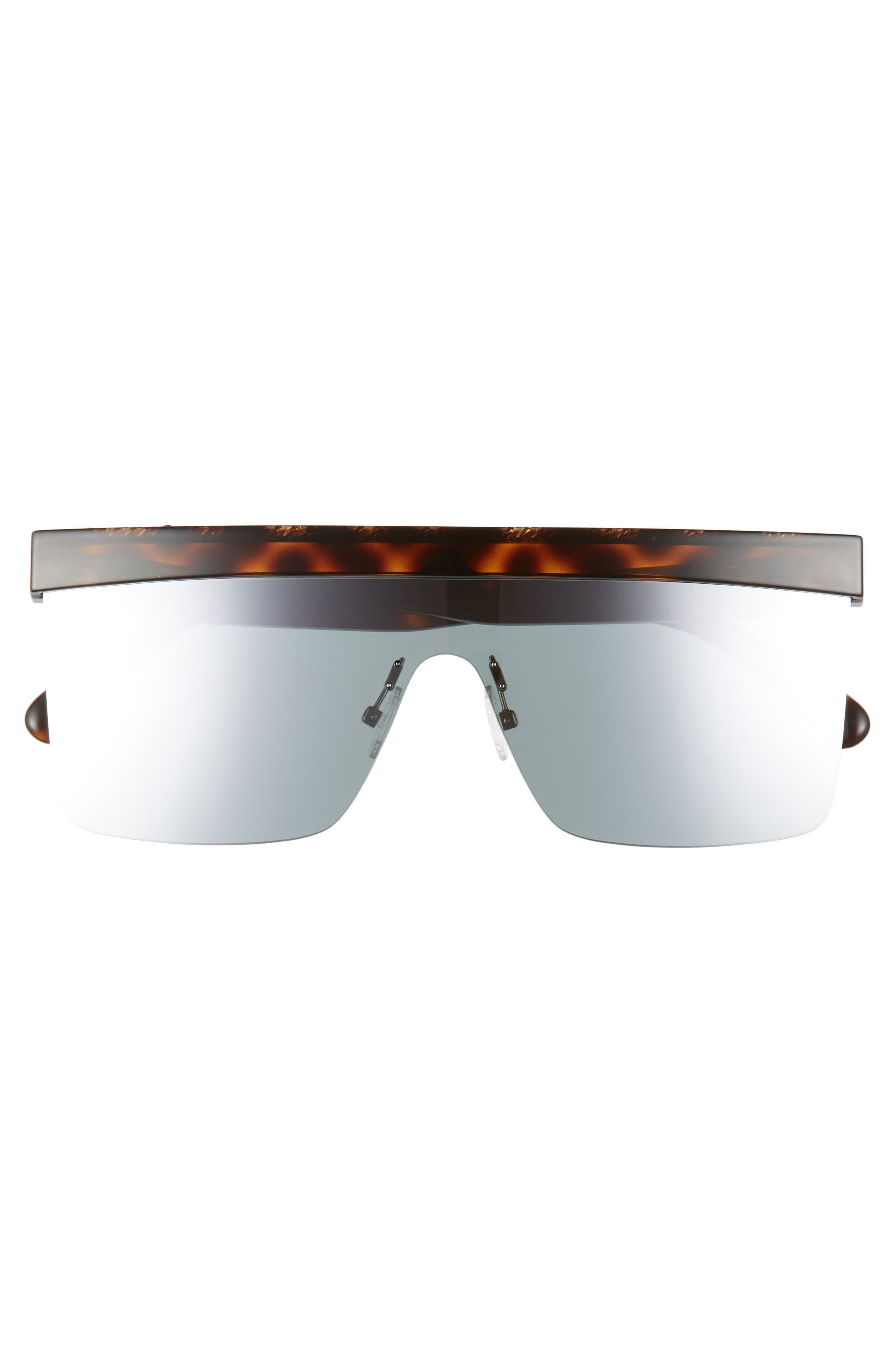 99mm Shield Sunglasses,                             Alternate thumbnail 3, color,                             Shiny Dark Havana