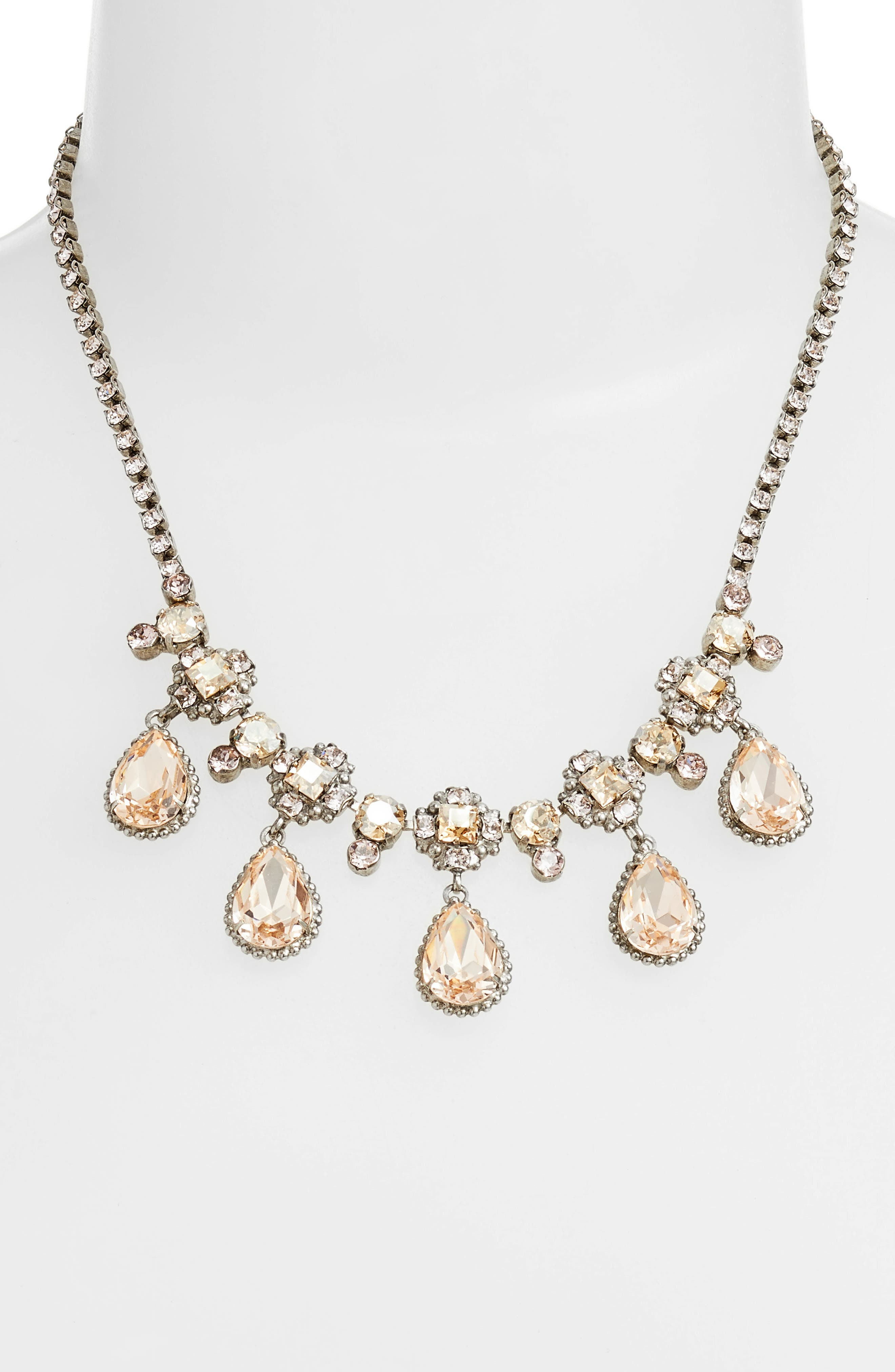 Posey Crystal Statement Necklace,                             Main thumbnail 1, color,                             Pink