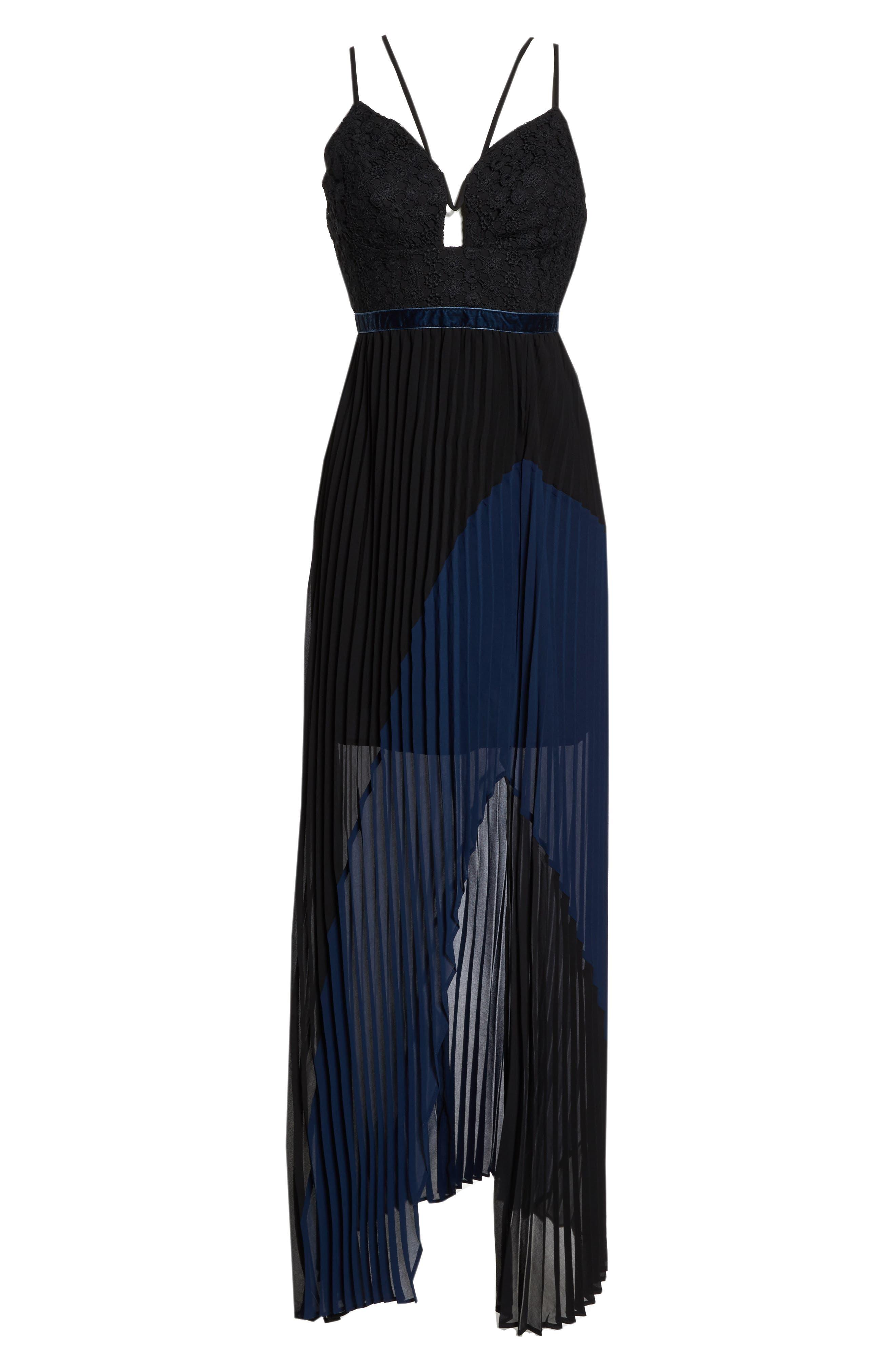 Nealea Pleat Chiffon Gown,                             Alternate thumbnail 7, color,                             Black/ Navy