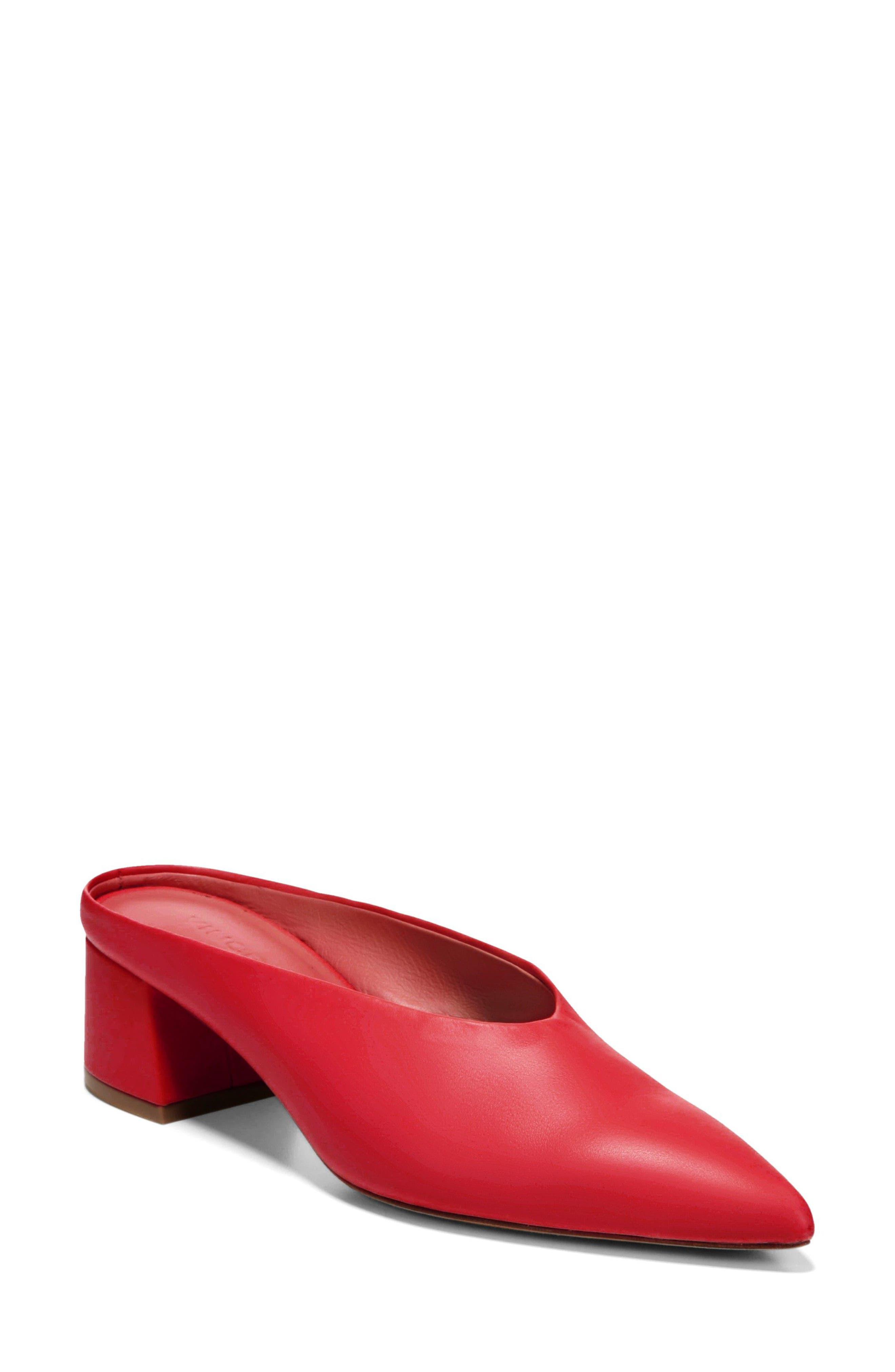 Ralston Pointy Toe Mule,                             Main thumbnail 1, color,                             Red Leather
