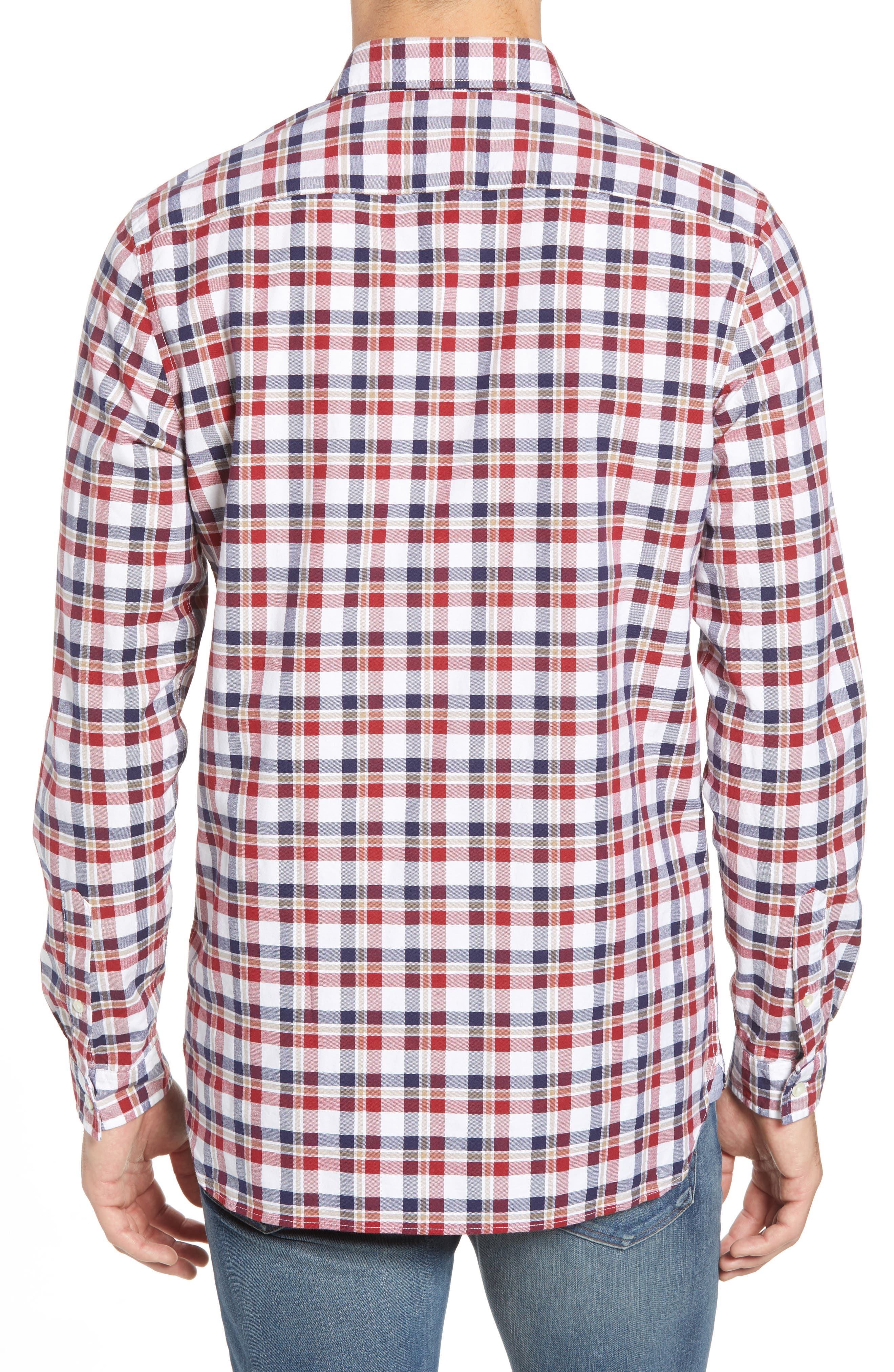Slim Fit Check Oxford Sport Shirt,                             Alternate thumbnail 3, color,                             Turkey Red