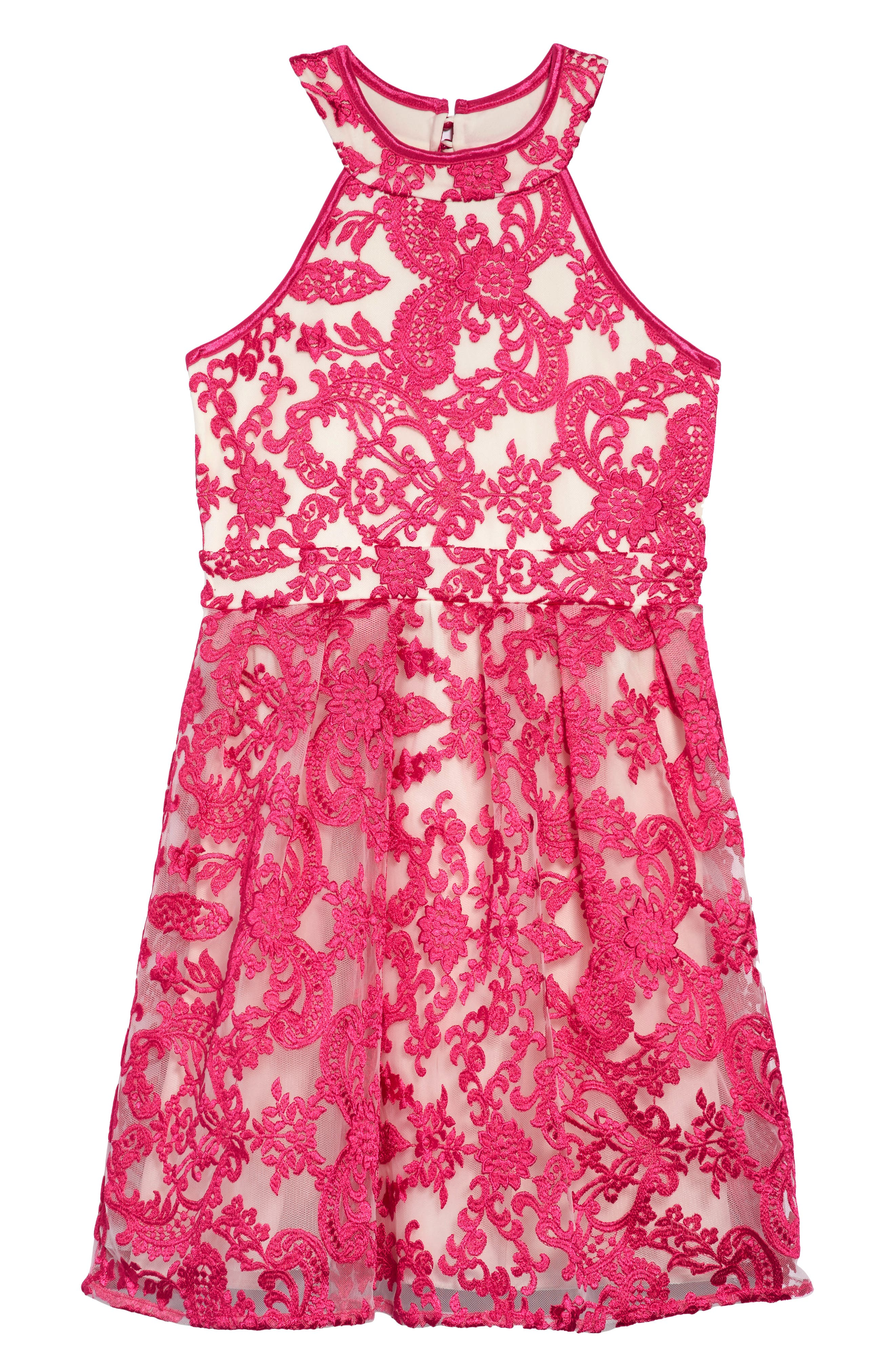 Floral Mesh Detail Dress,                         Main,                         color, Fuchsia/ Nude