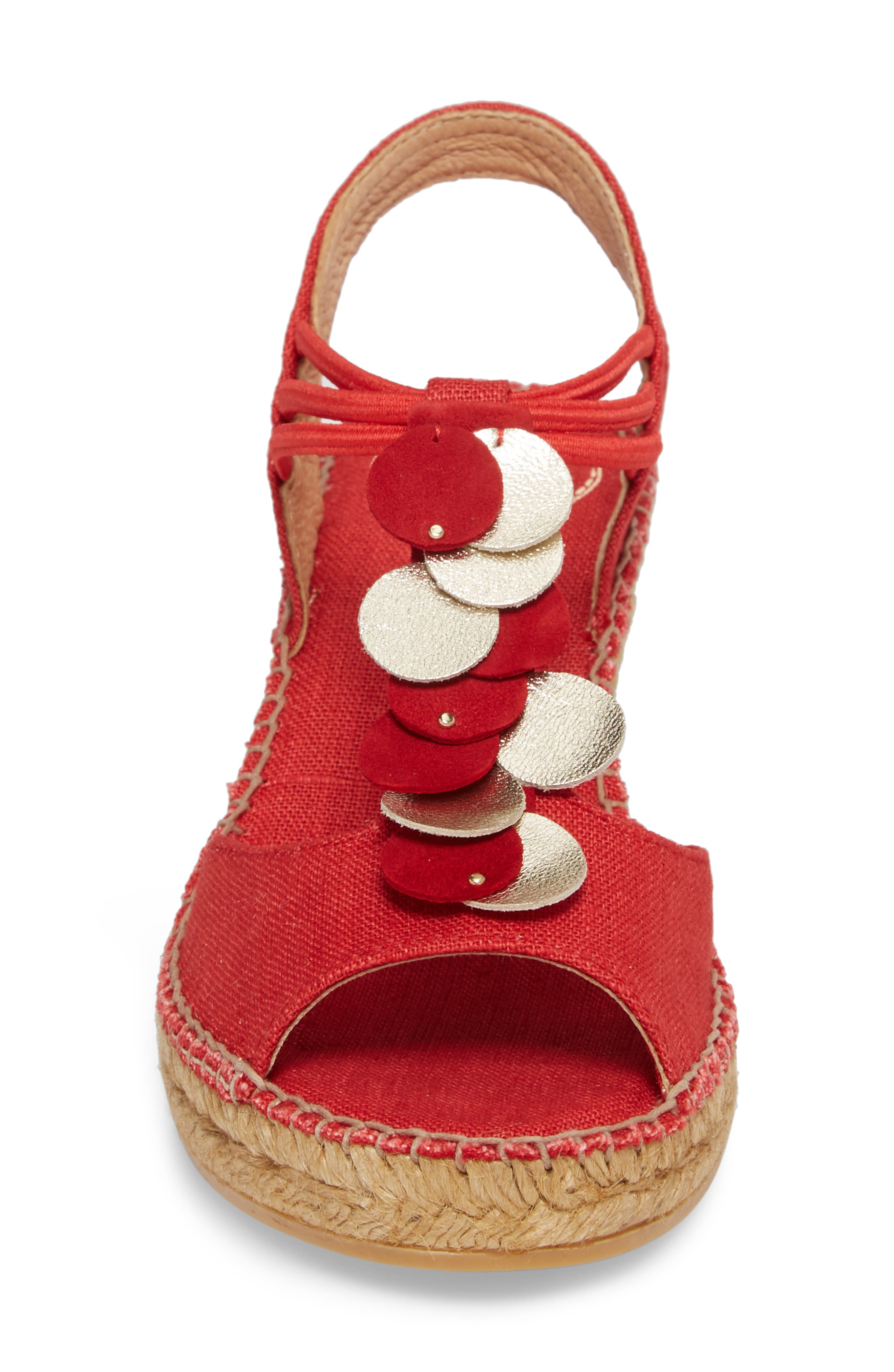 Sitges Espadrille Sandal,                             Alternate thumbnail 4, color,                             Red Fabric