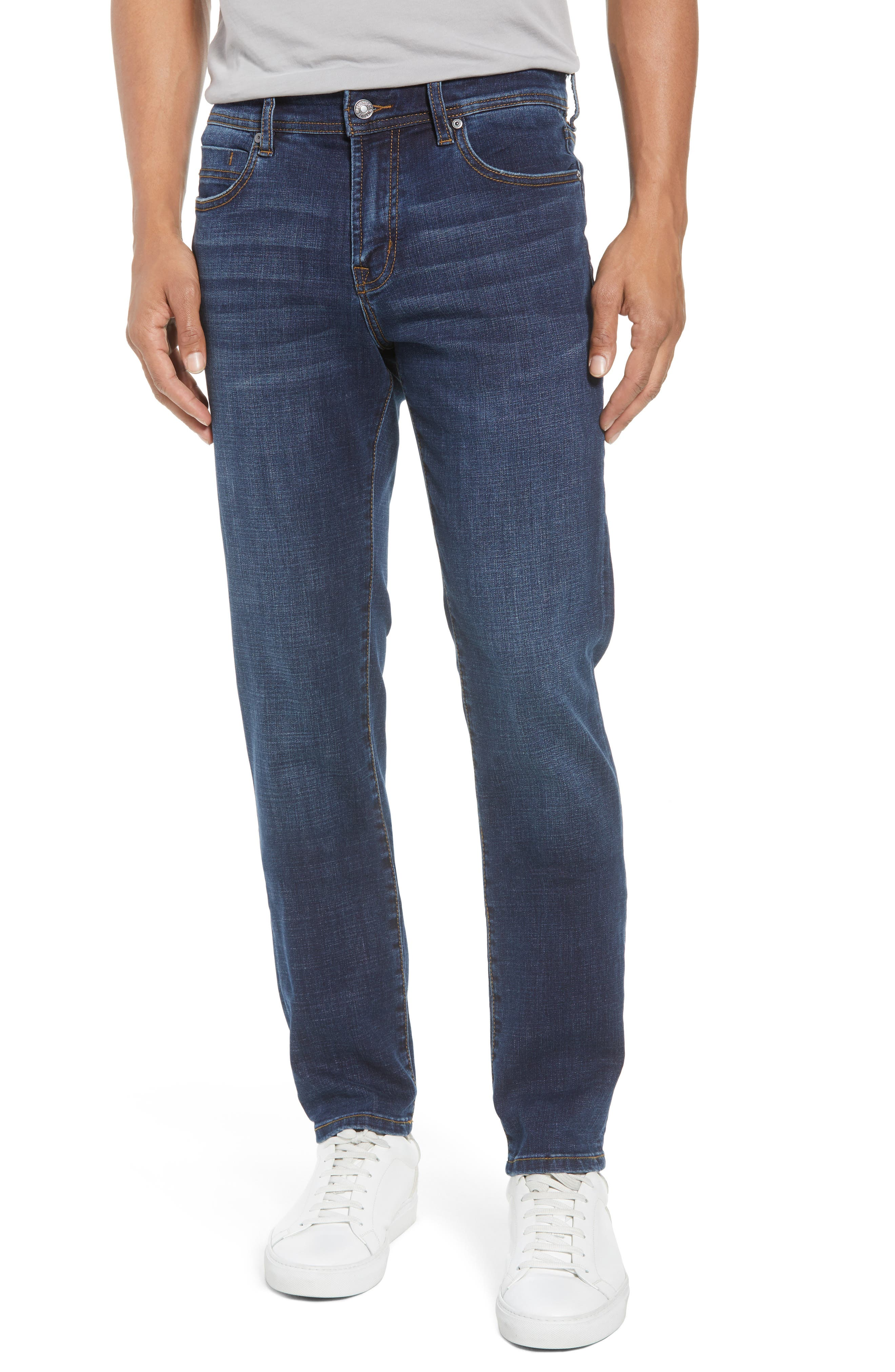 Slim Straight Leg Jeans,                             Main thumbnail 1, color,                             Navajo Dark