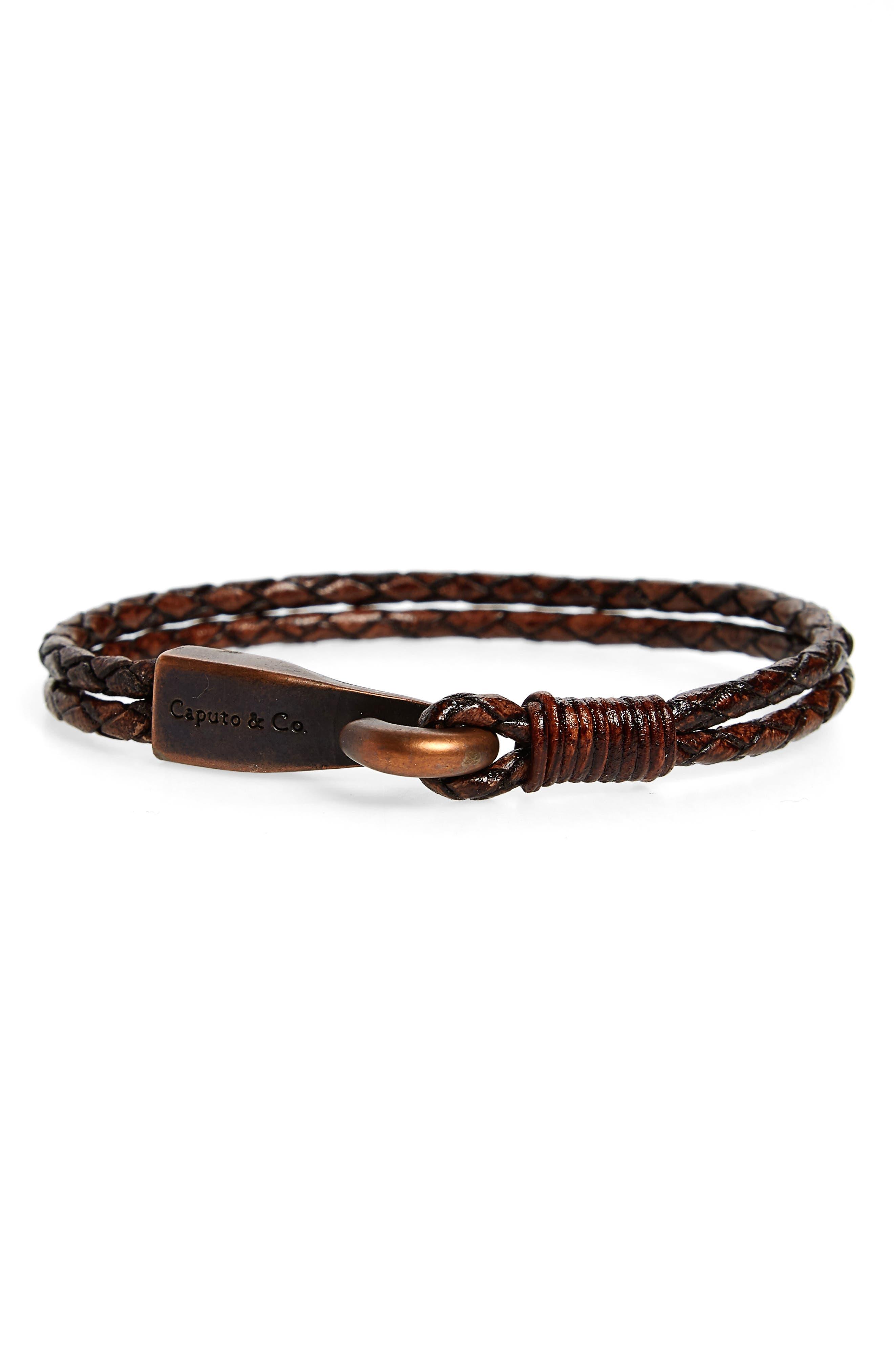 Leather Bracelet,                             Main thumbnail 1, color,                             Antique Dark Brown