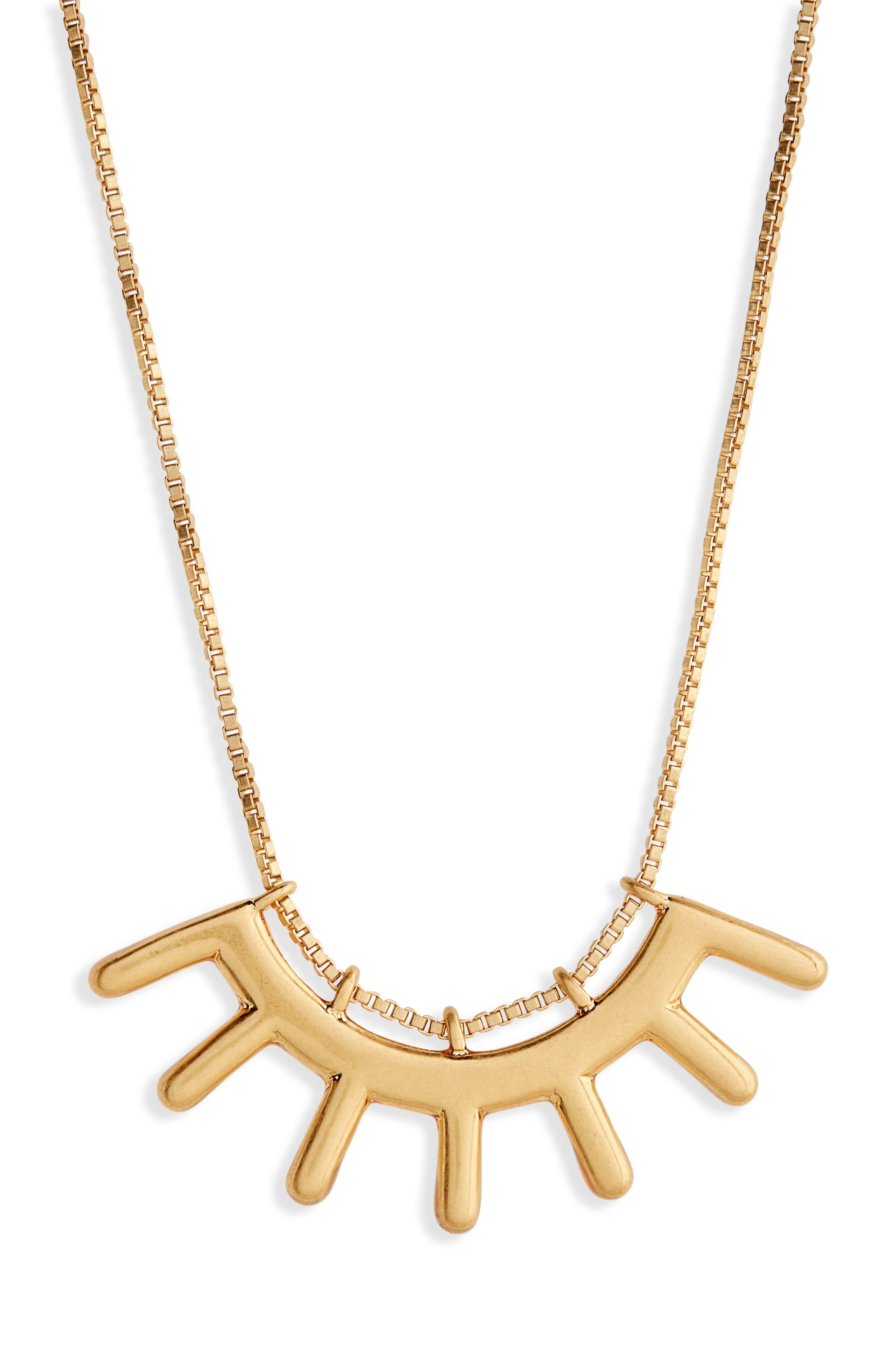 Succulent Pendant Necklace,                         Main,                         color, Vintage Gold
