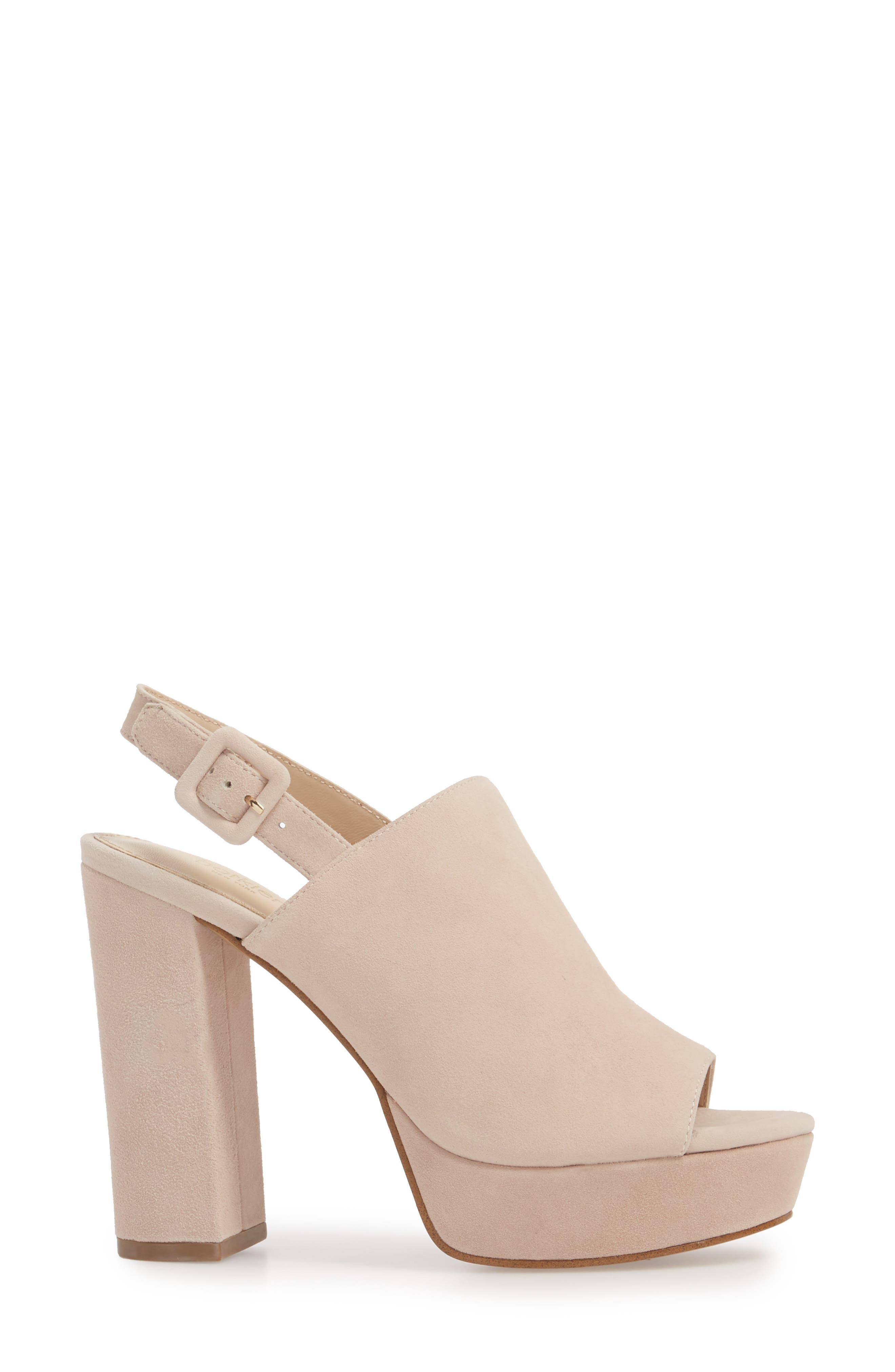 Jolene Platform Sandal,                             Alternate thumbnail 3, color,                             Blush Suede