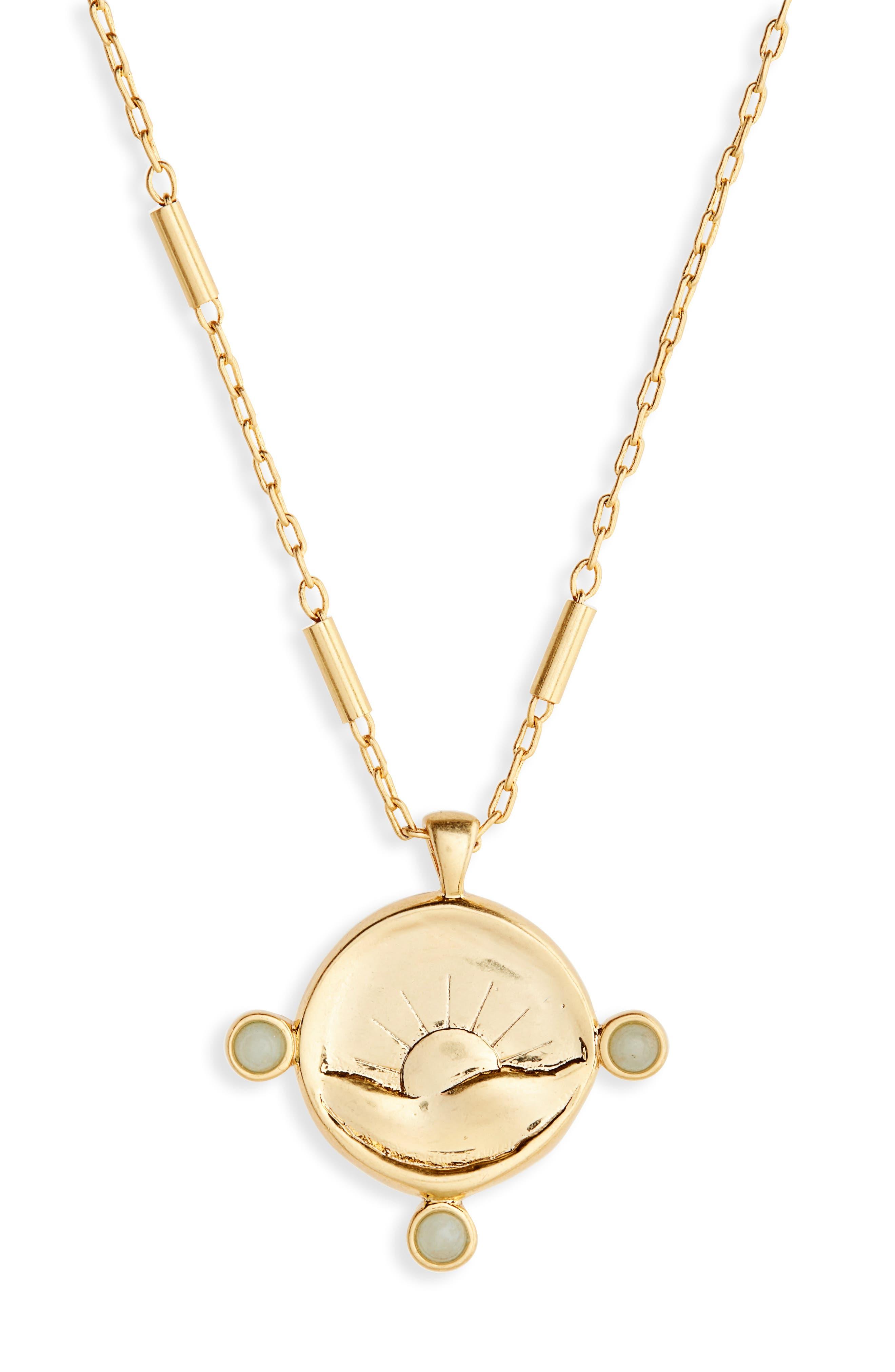 Etched Sun Necklace,                         Main,                         color, Vintage Gold
